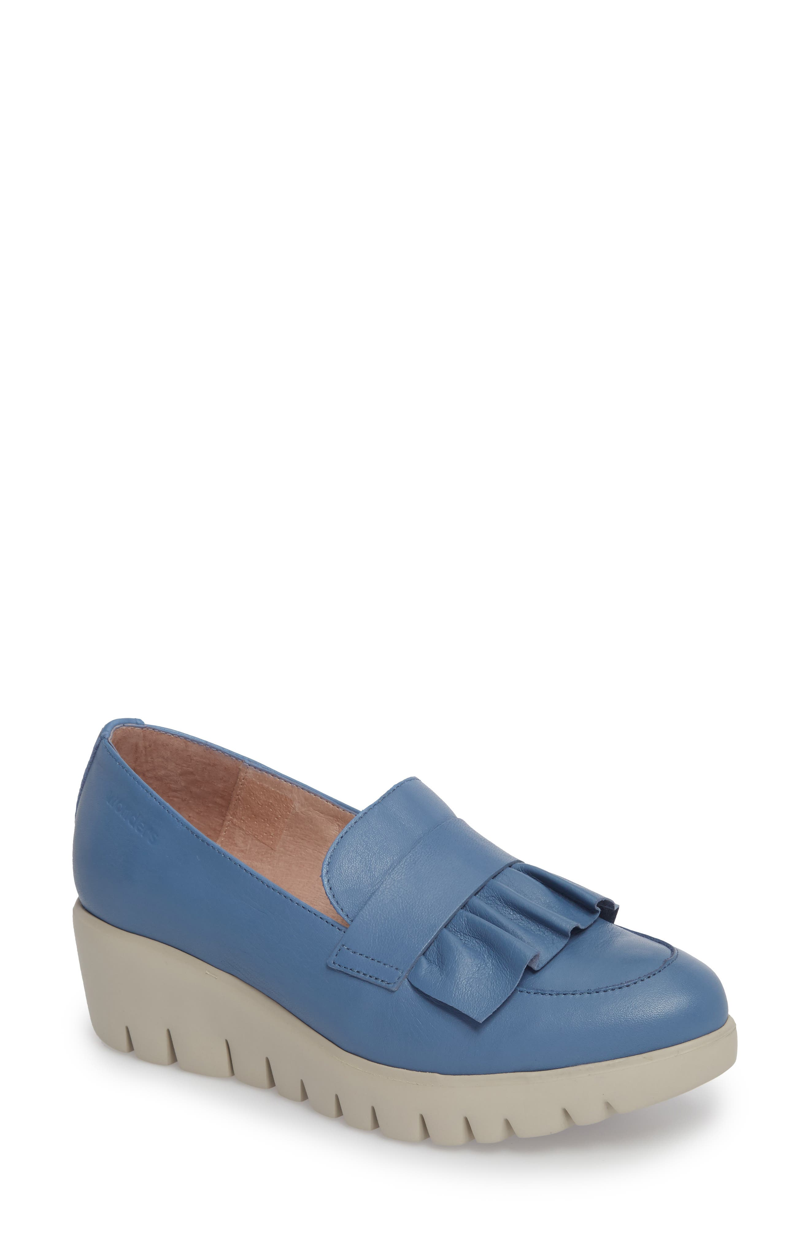 WONDERS Loafer Wedge in Jeans Leather