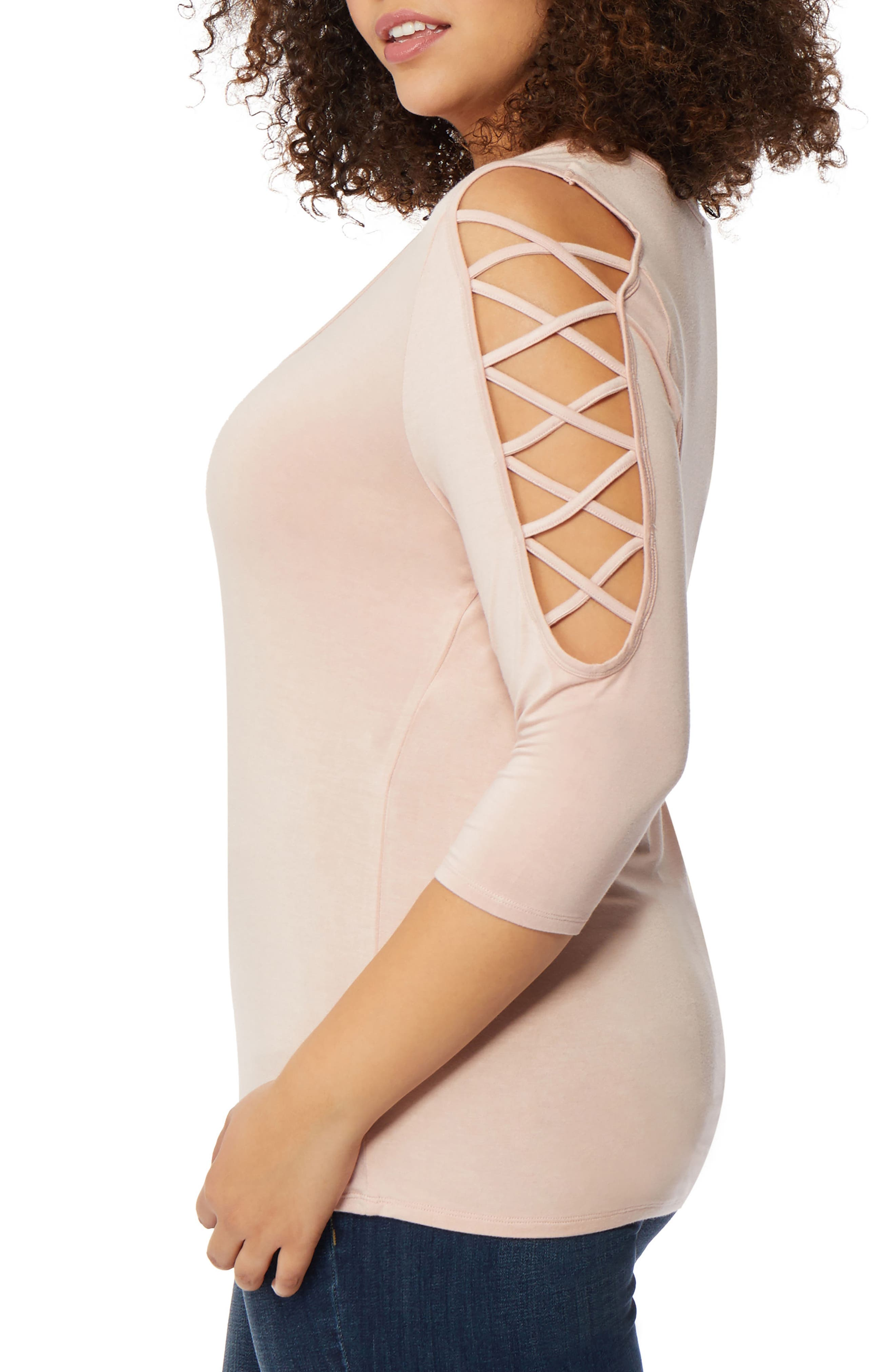 Laced Shoulder Top,                             Alternate thumbnail 3, color,                             Evening Sand