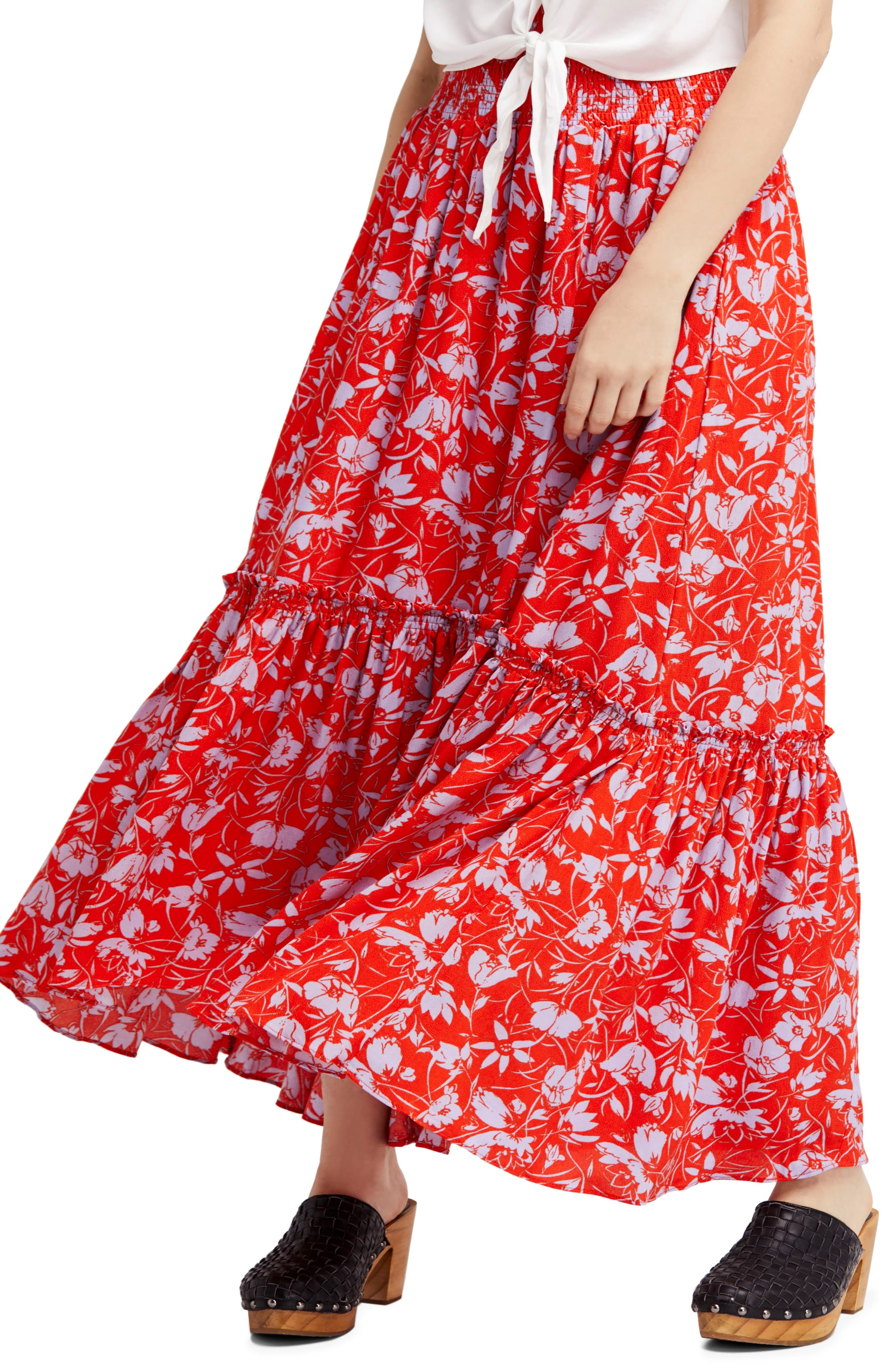Way of the Wind Print Maxi Skirt,                         Main,                         color, Red