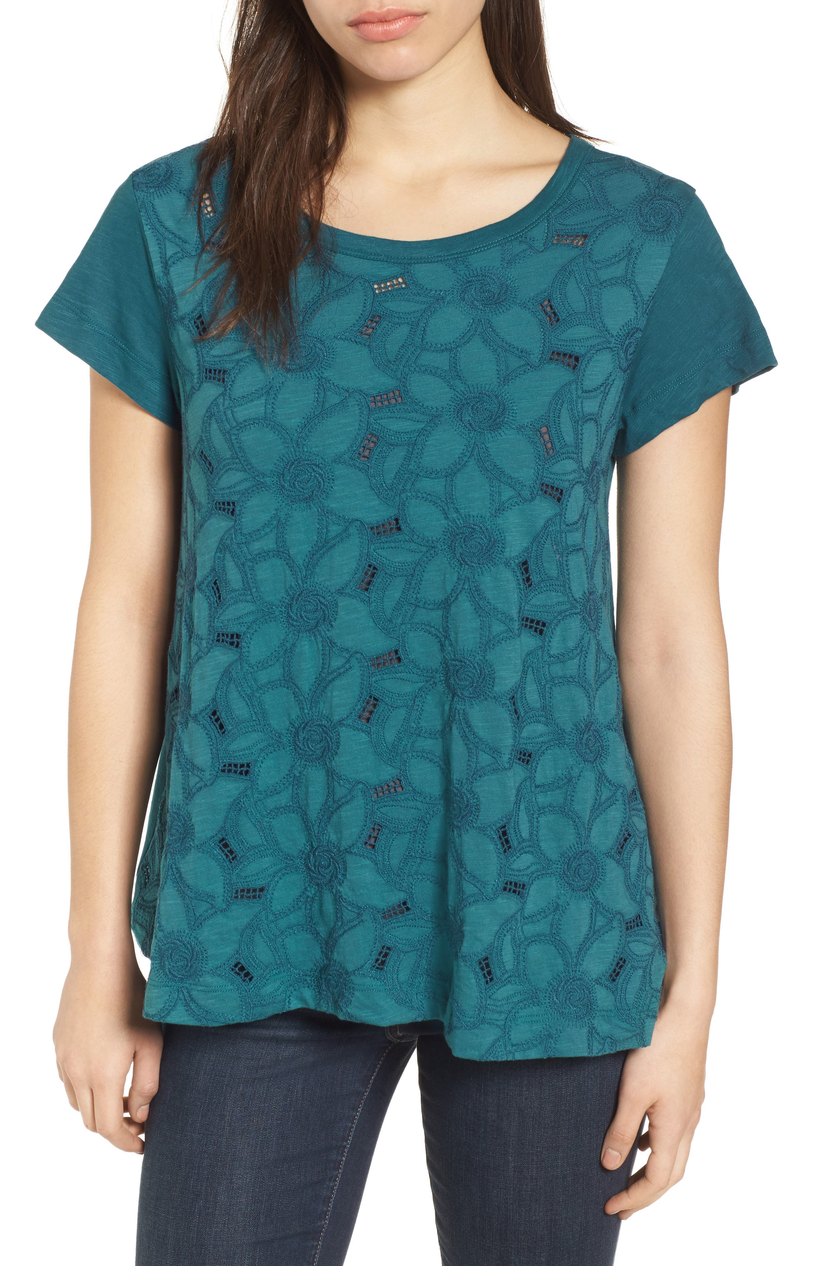 Embroidered Overlay Swing Top,                             Main thumbnail 1, color,                             Teal Seagate