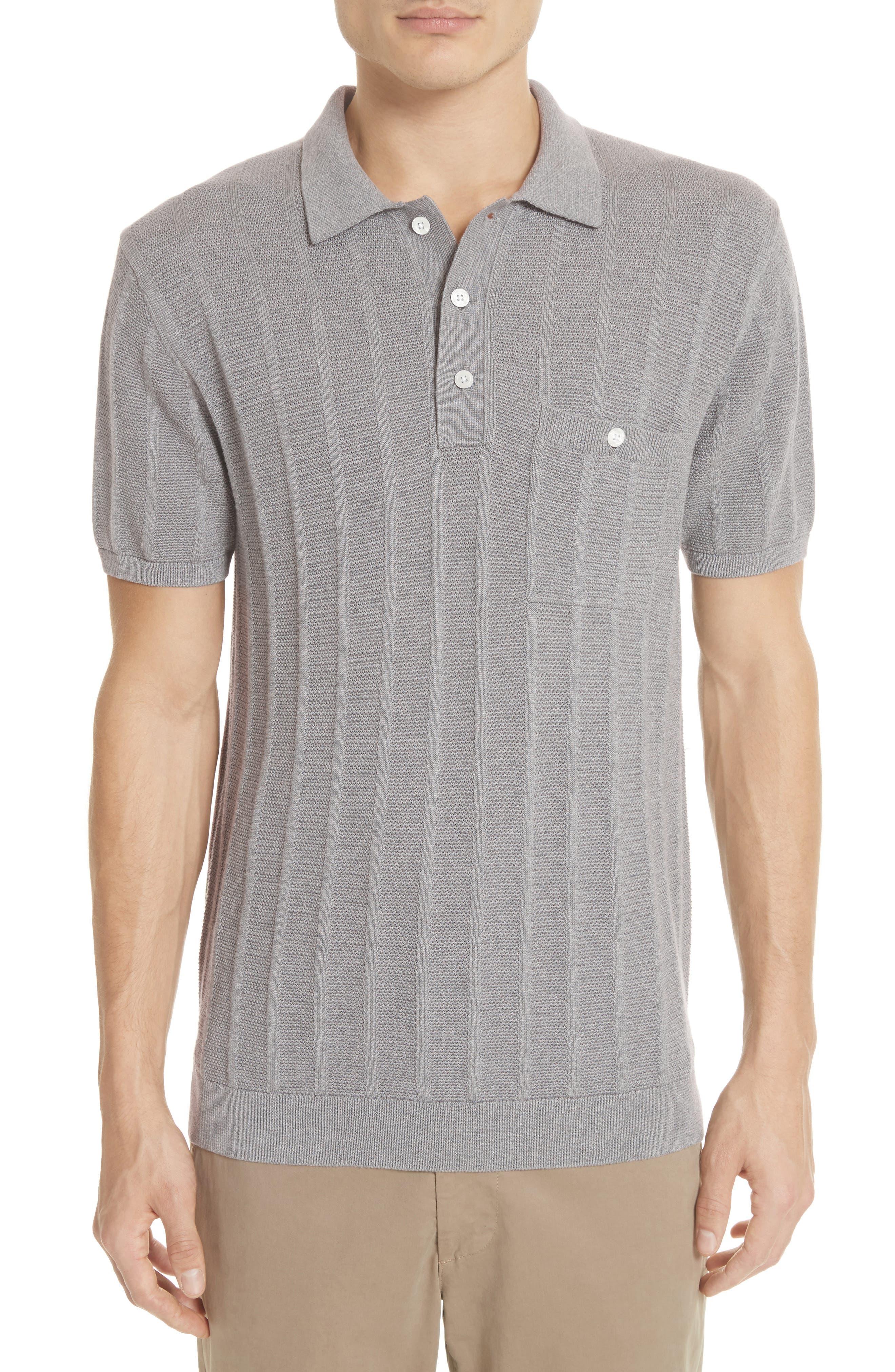 Ribbed Silk & Cotton Polo Shirt,                         Main,                         color, Grey