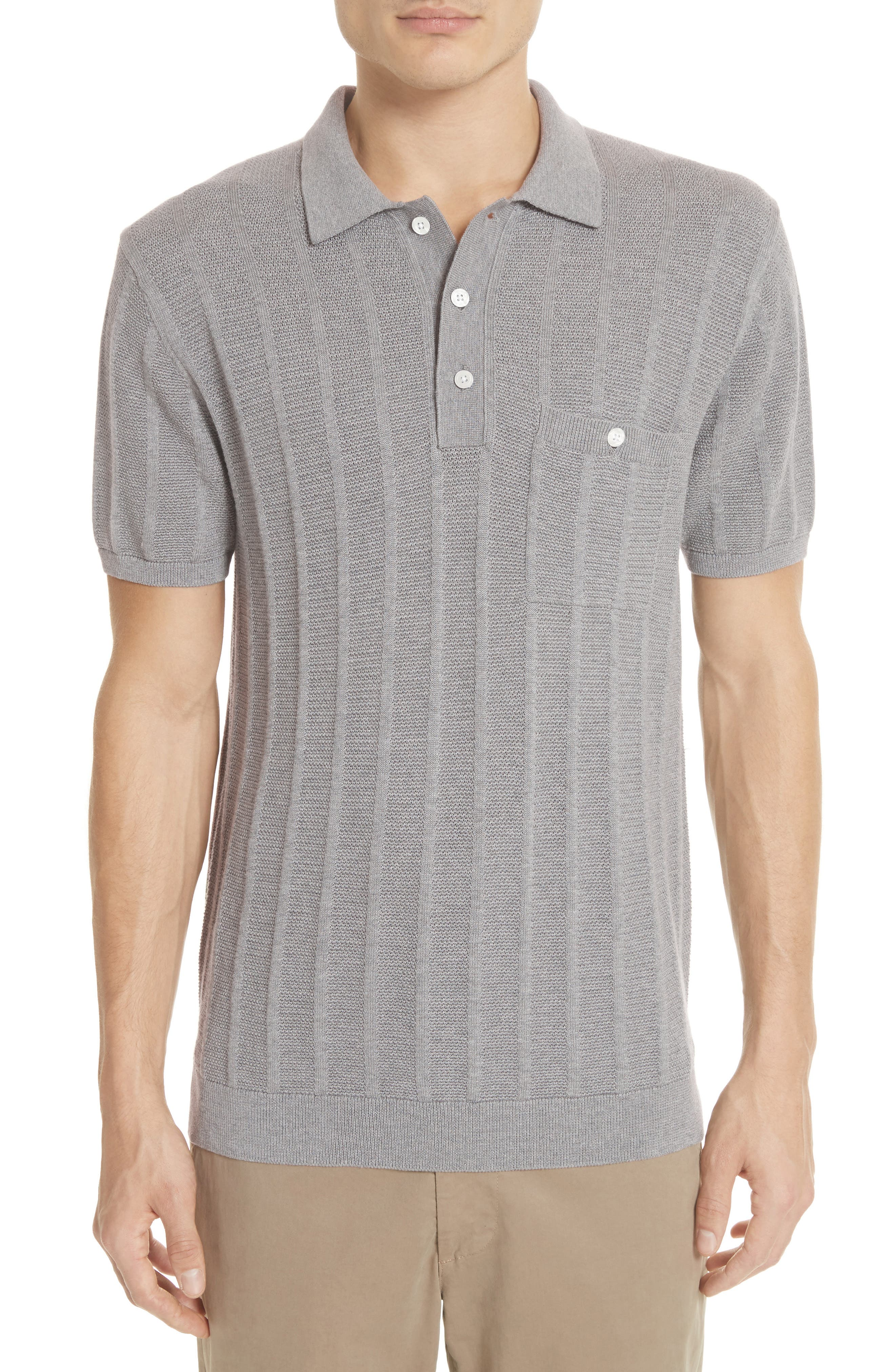 Todd Snyder Ribbed Silk & Cotton Polo Shirt