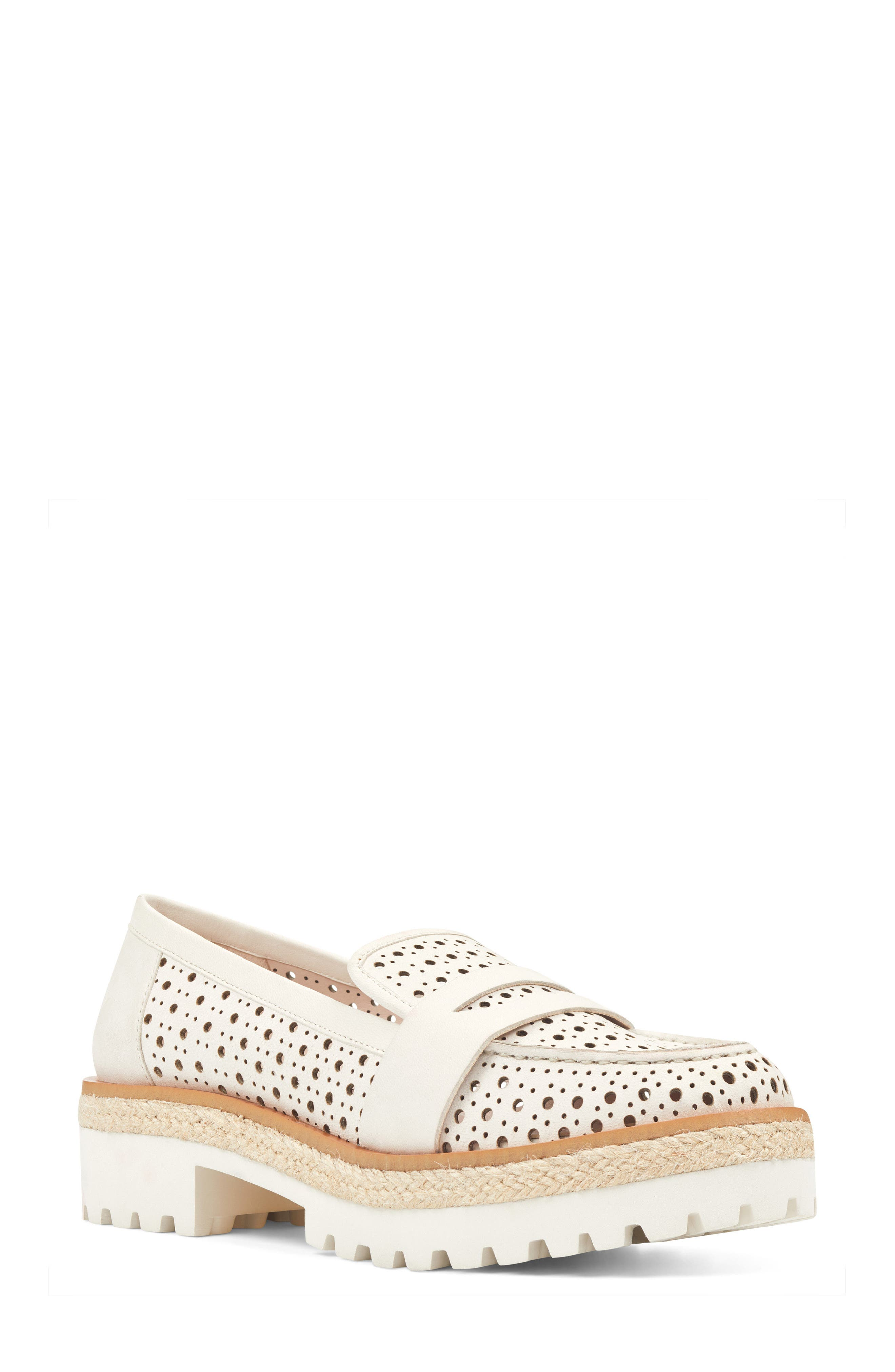 Gradskool Perforated Penny Loafer,                             Main thumbnail 1, color,                             Off White Leather