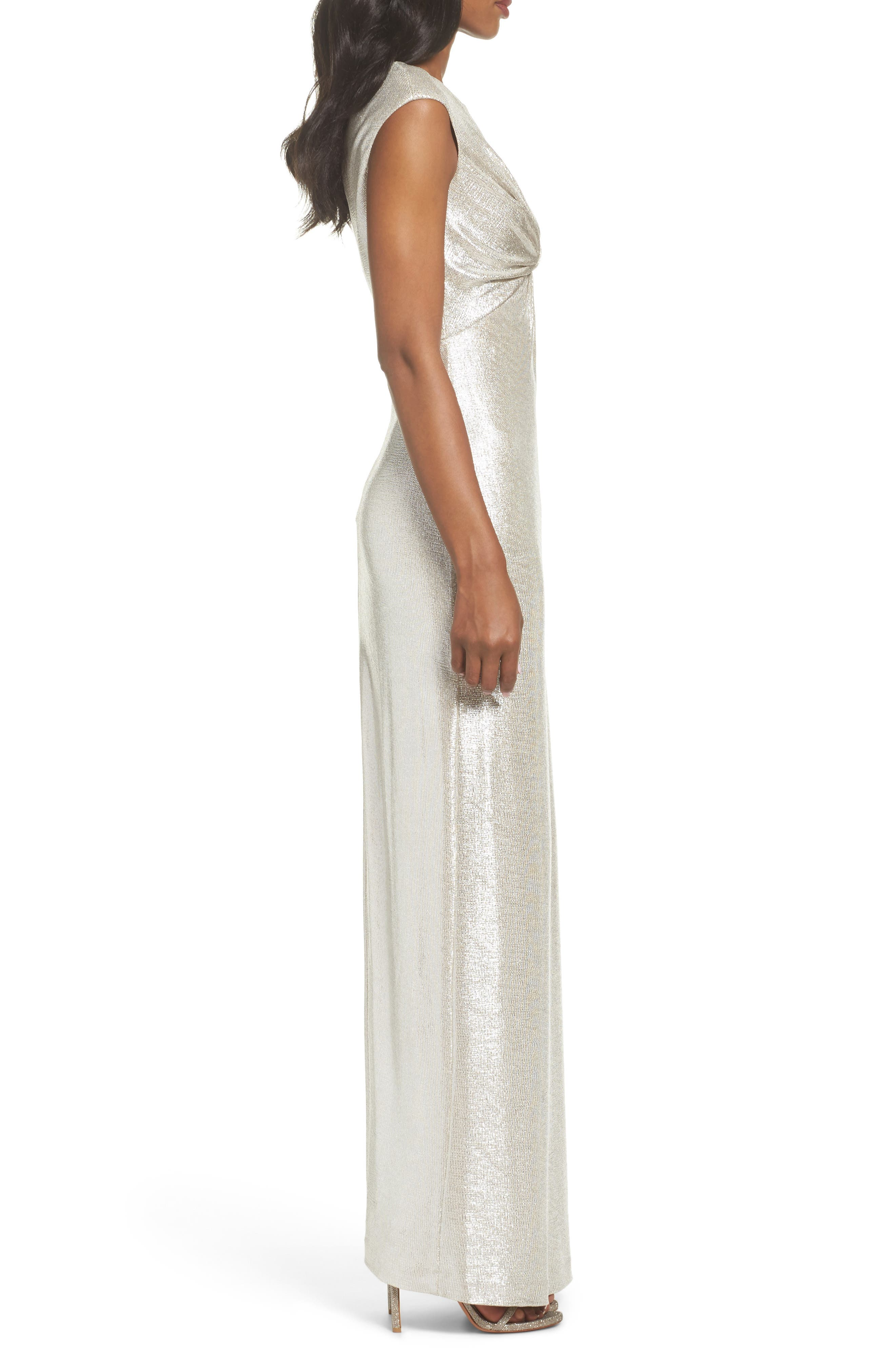 Twist Front Gown,                             Alternate thumbnail 3, color,                             Silver