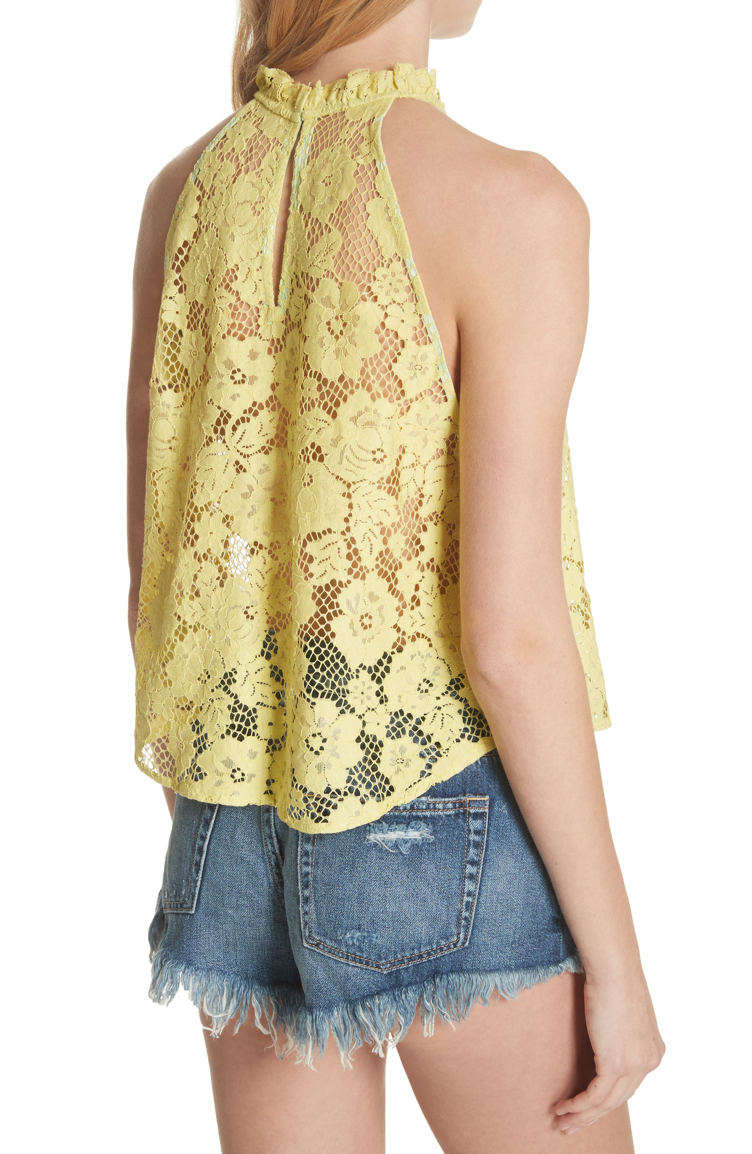 Sweet Meadow Dreams Lace Top,                             Alternate thumbnail 2, color,                             Chartreuse