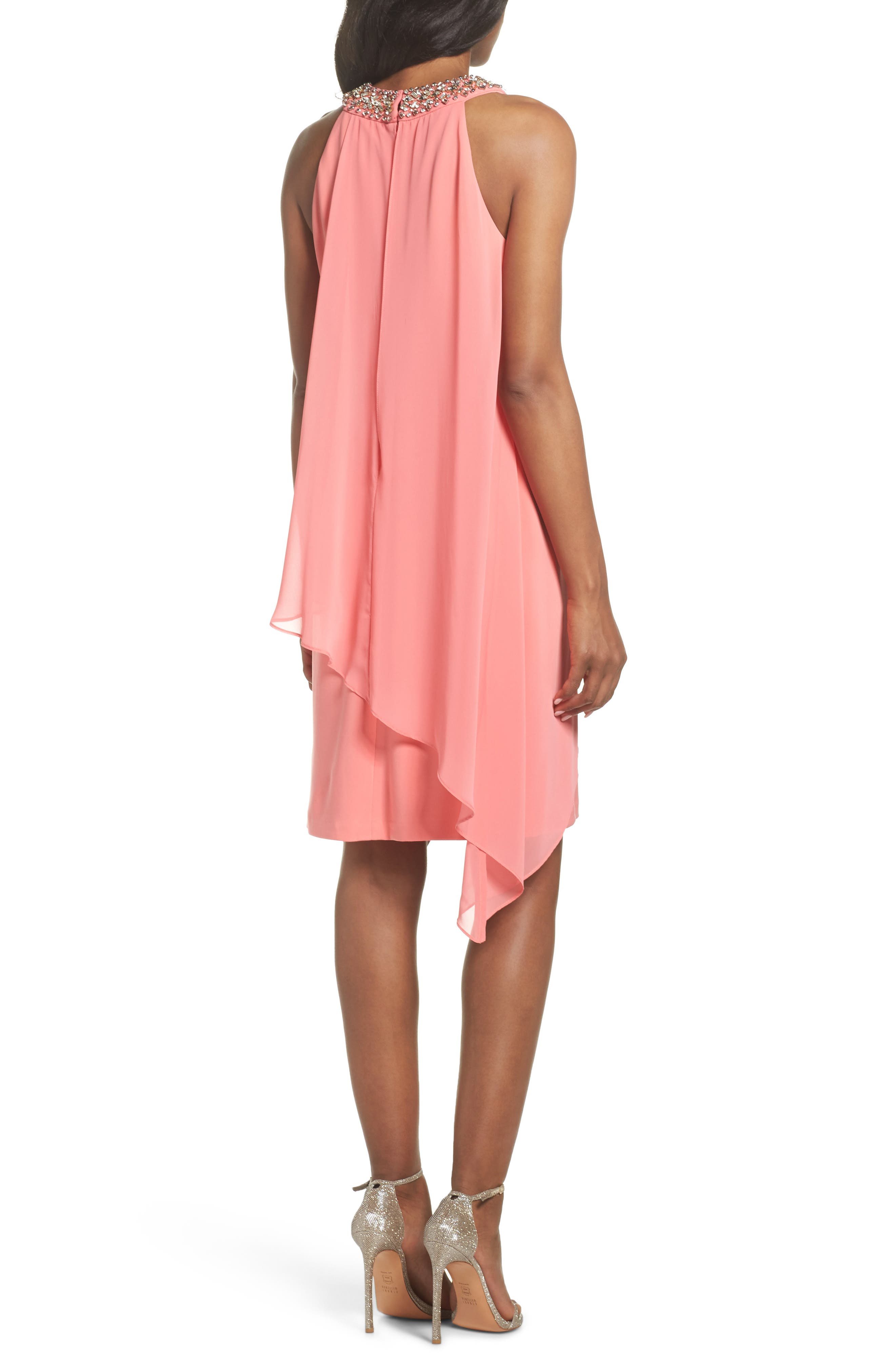 Embellished Chiffon Overlay A-Line Dress,                             Alternate thumbnail 2, color,                             Guava