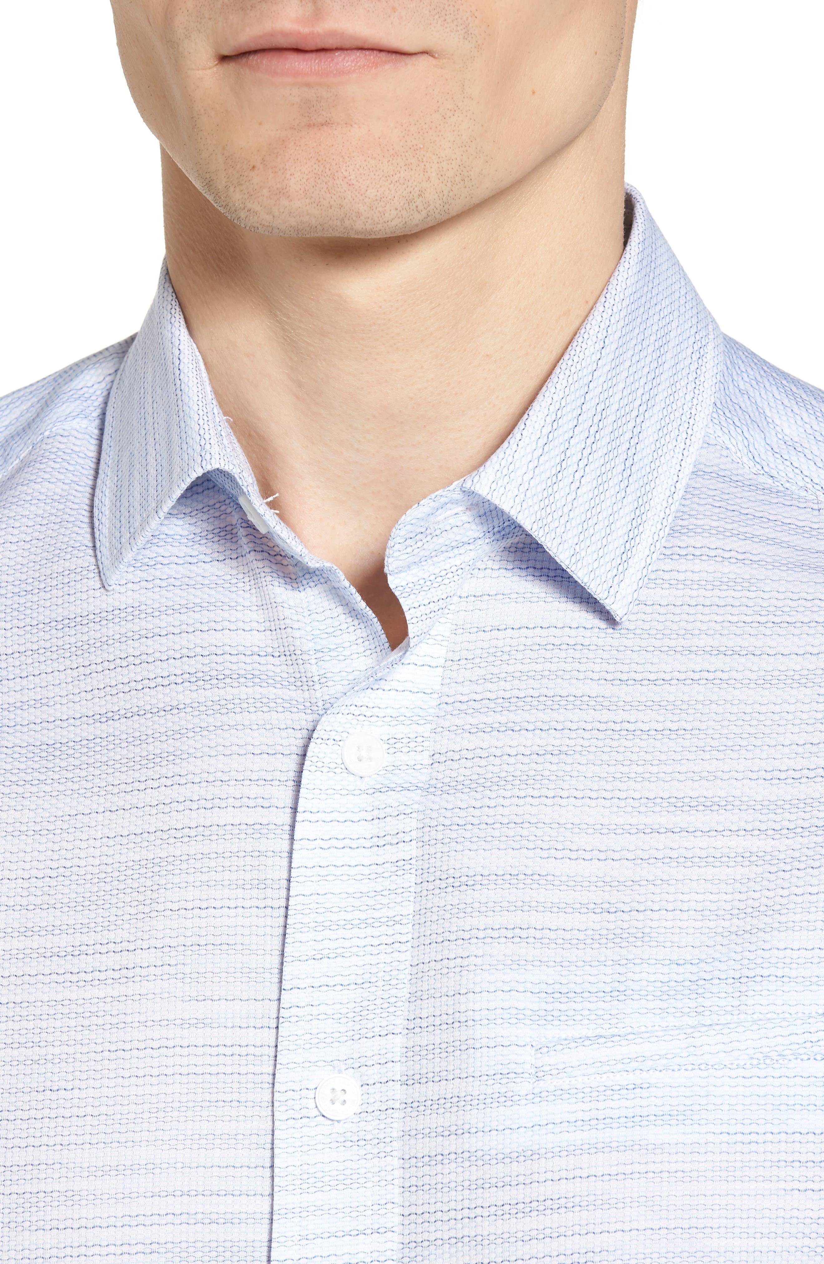 Slim Fit Stripe Short Sleeve Sport Shirt,                             Alternate thumbnail 4, color,                             Light/ Pastel Blue Dobby