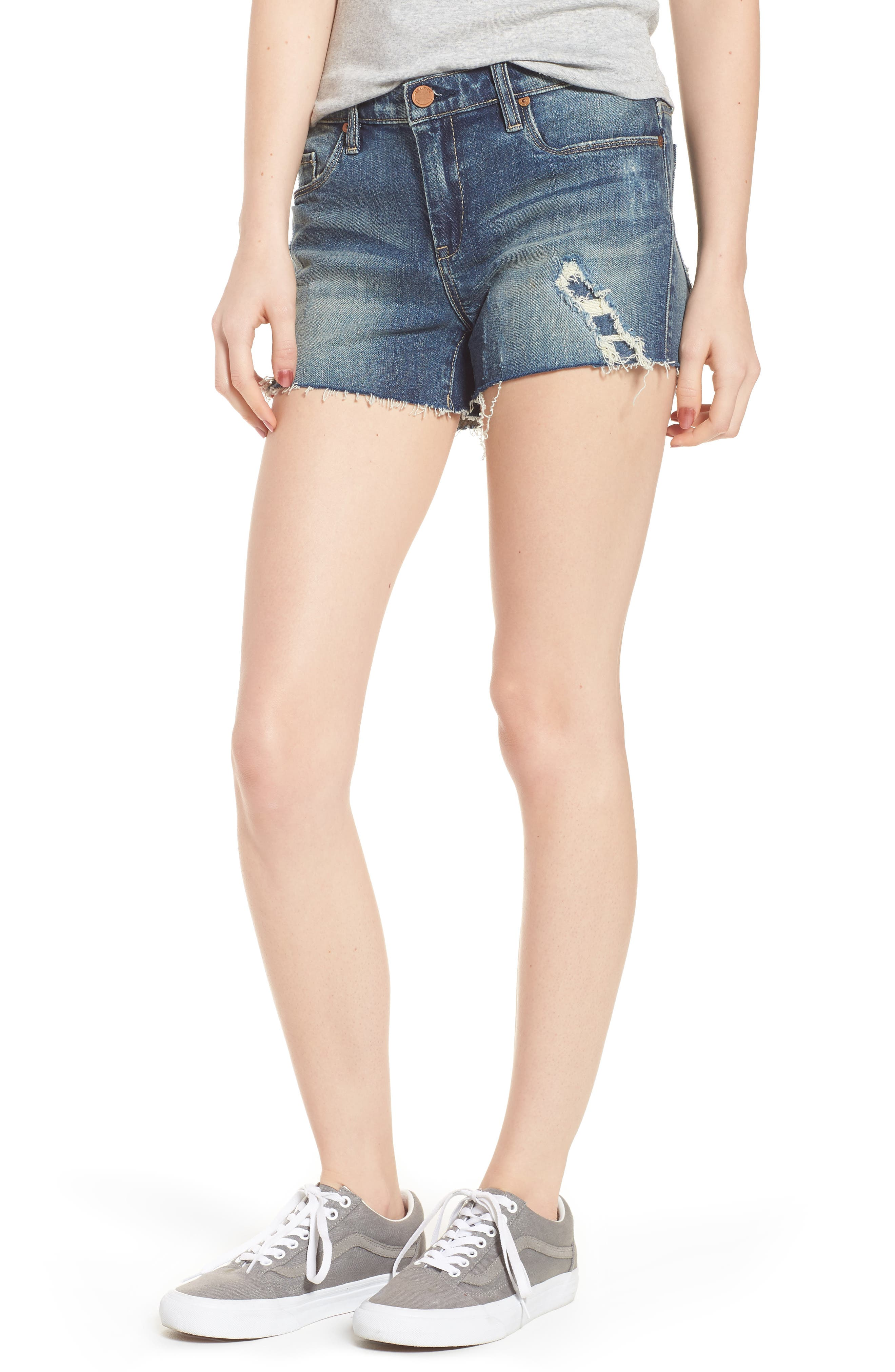 Alternate Image 1 Selected - BLANKNYC The Astor Ripped Cutoff Denim Shorts (Blame Storming)