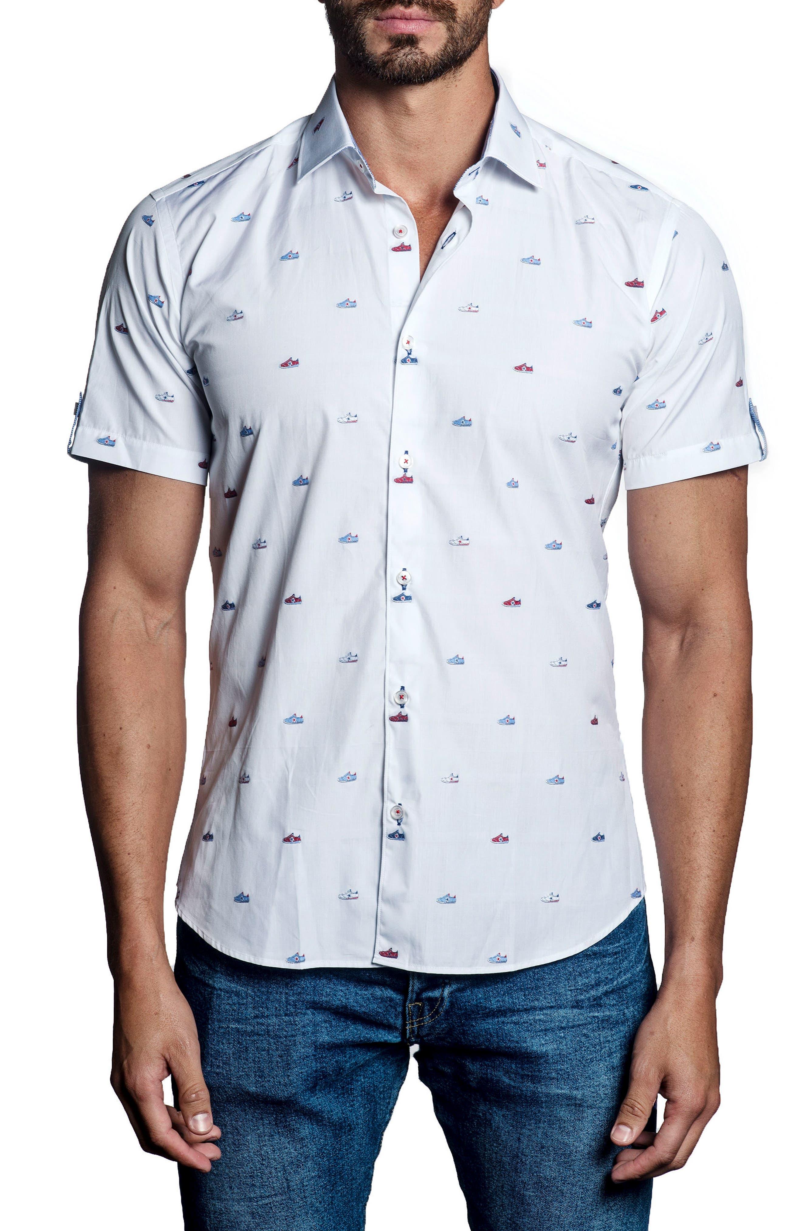 Jared Lang Trim Fit Shoe Print Sport Shirt