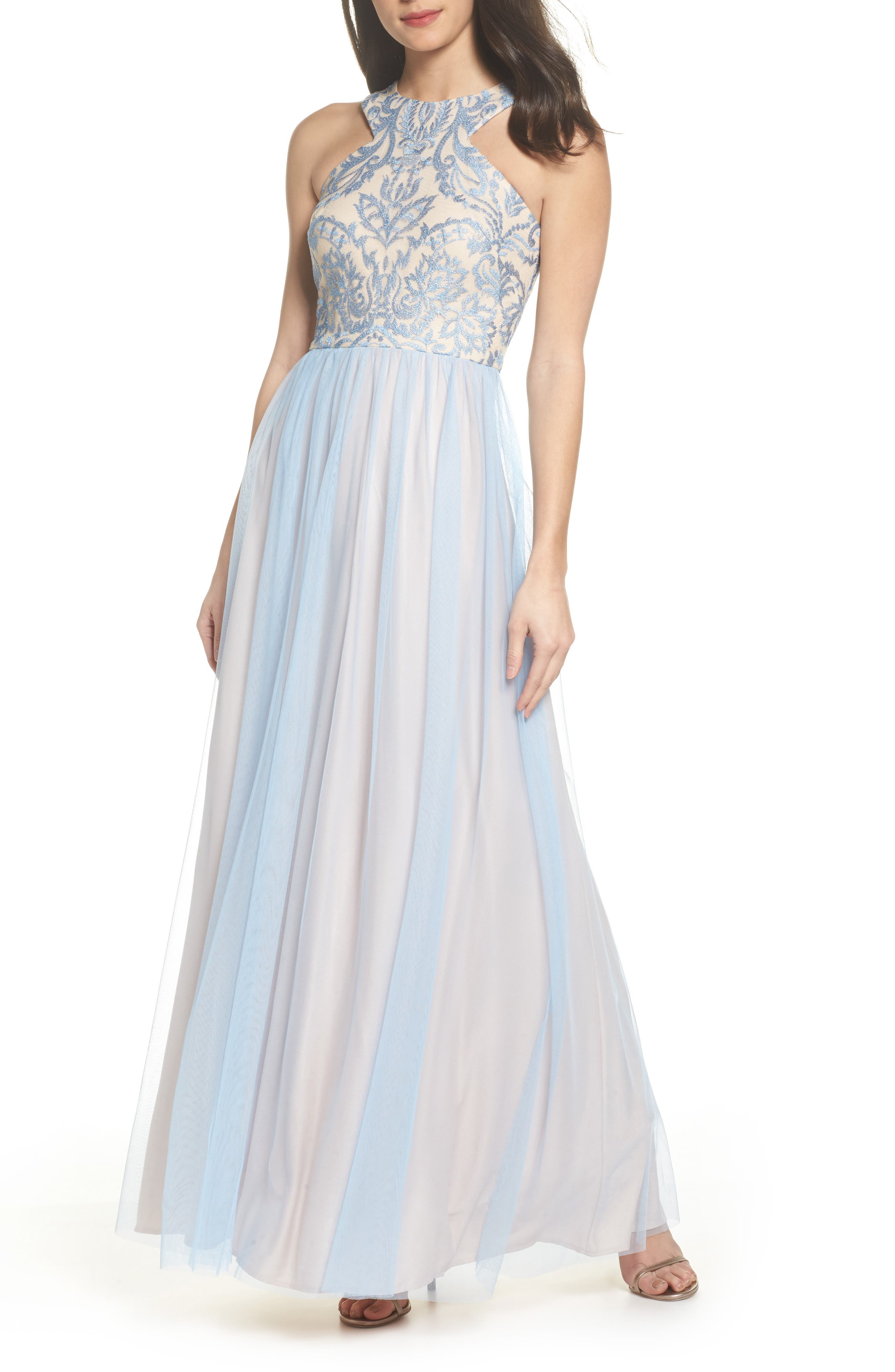 Embroidered Cutaway Bodice Gown,                         Main,                         color, Ice Blue / Blush