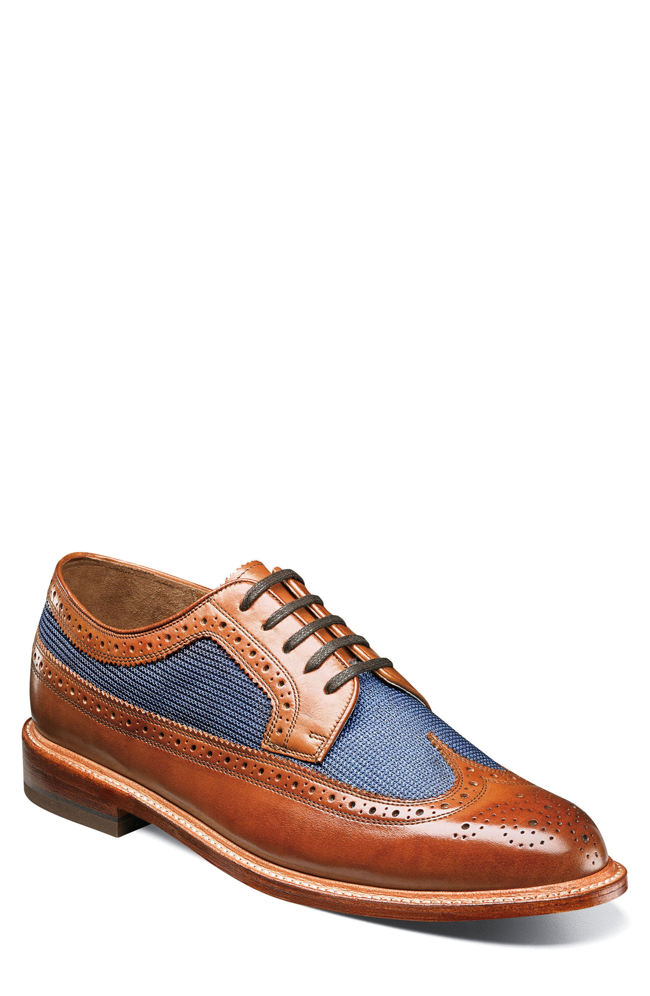 'Heritage' Wingtip,                         Main,                         color, Cognac Leather/ Mesh