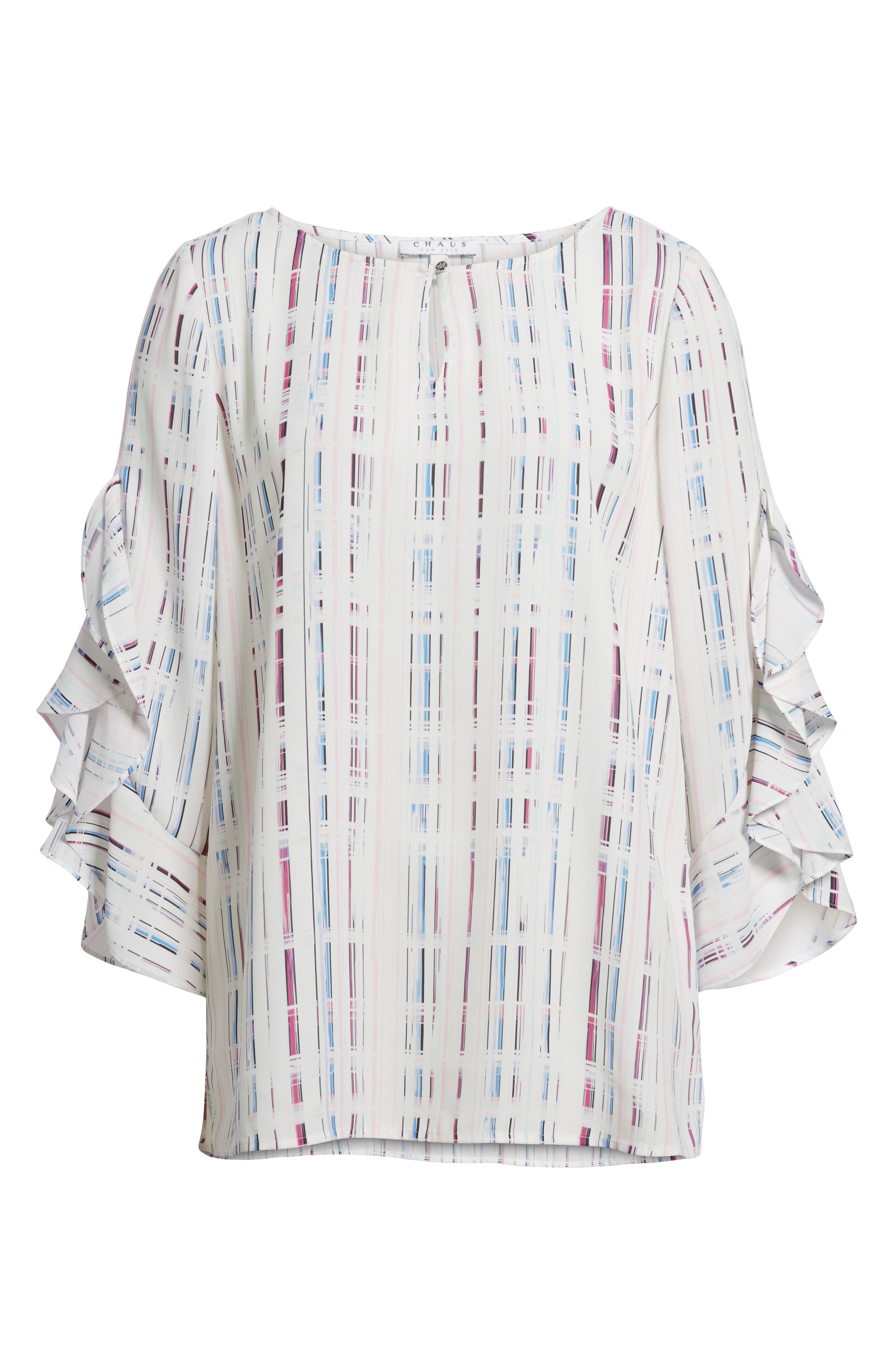 Prism Grid Print Blouse,                             Alternate thumbnail 6, color,                             103-New Ivory