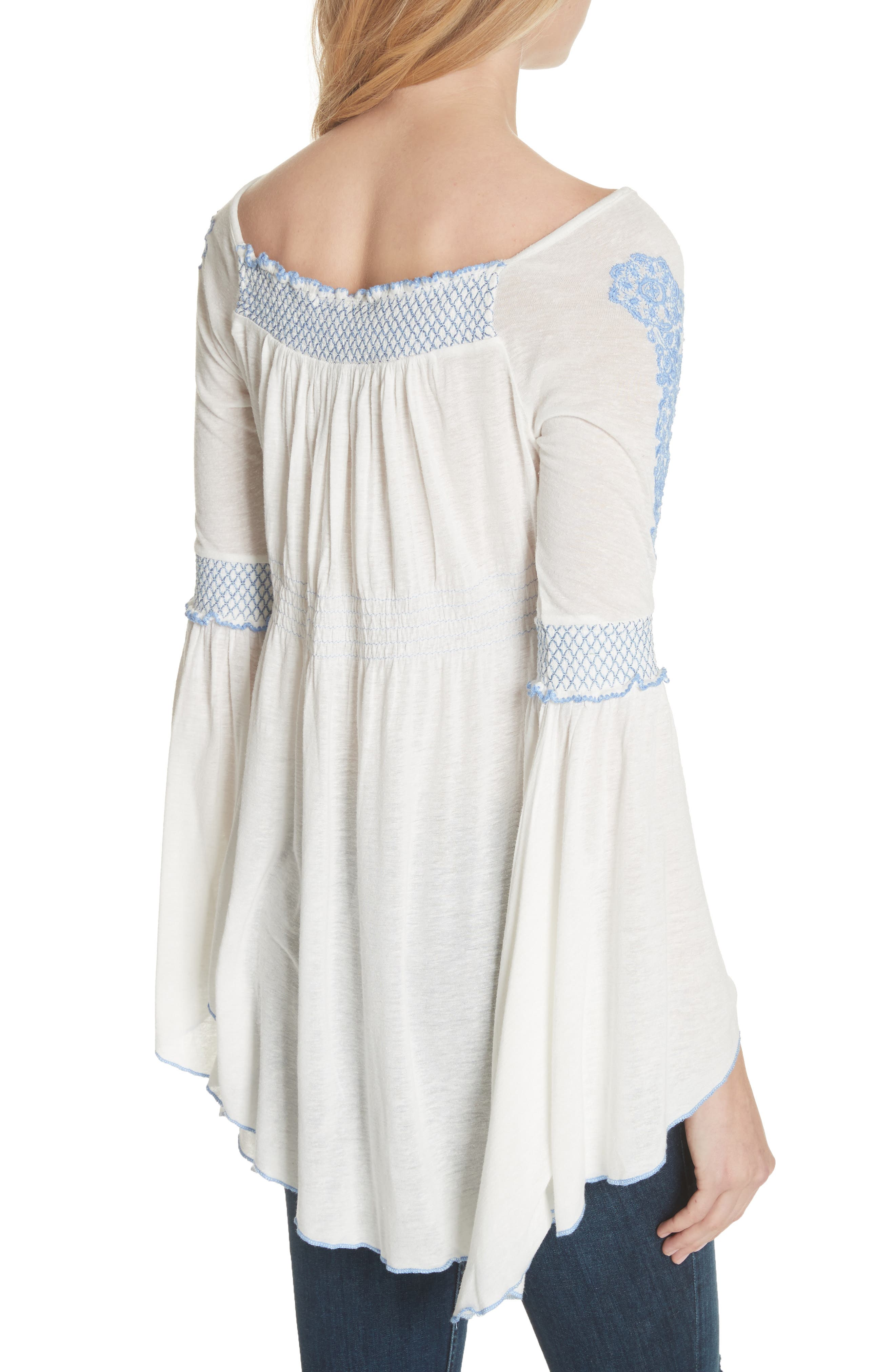 Valley Embroidered Bell Sleeve Top,                             Alternate thumbnail 2, color,                             Ivory