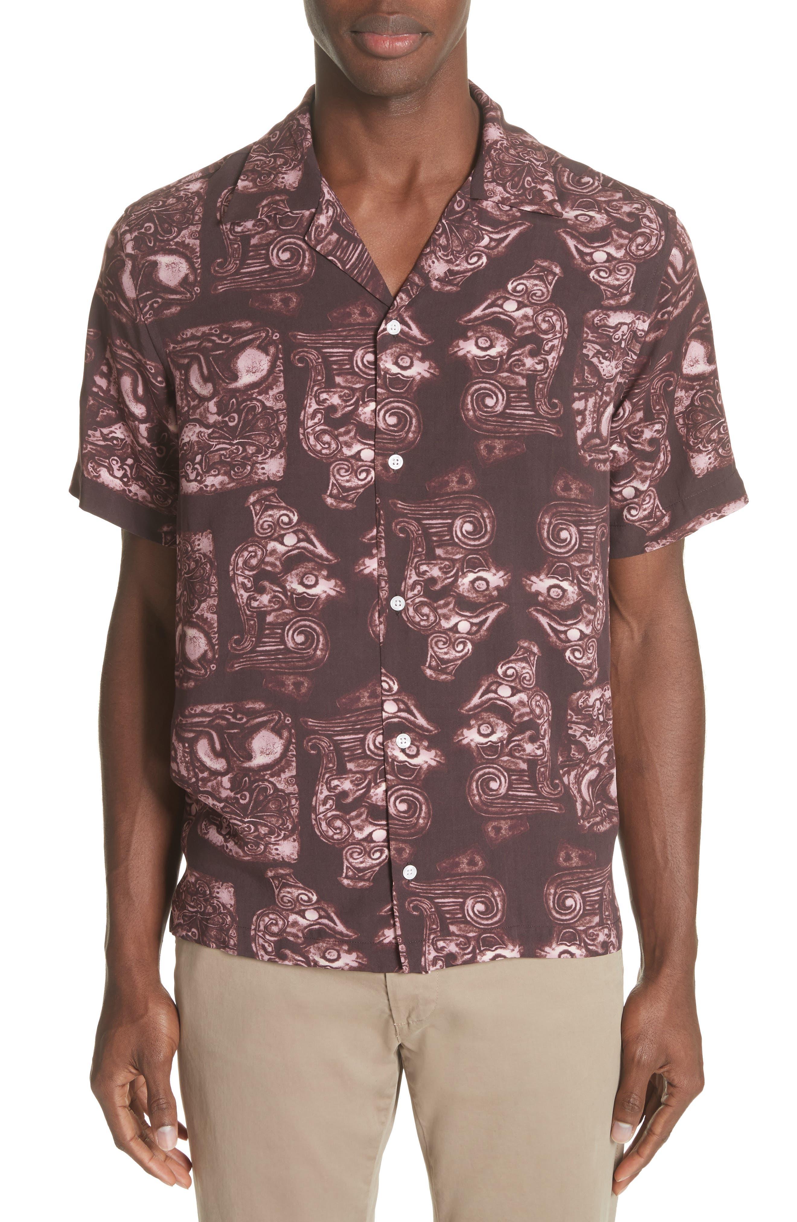 Canty Pendant Print Camp Shirt,                         Main,                         color, Dark Mauve