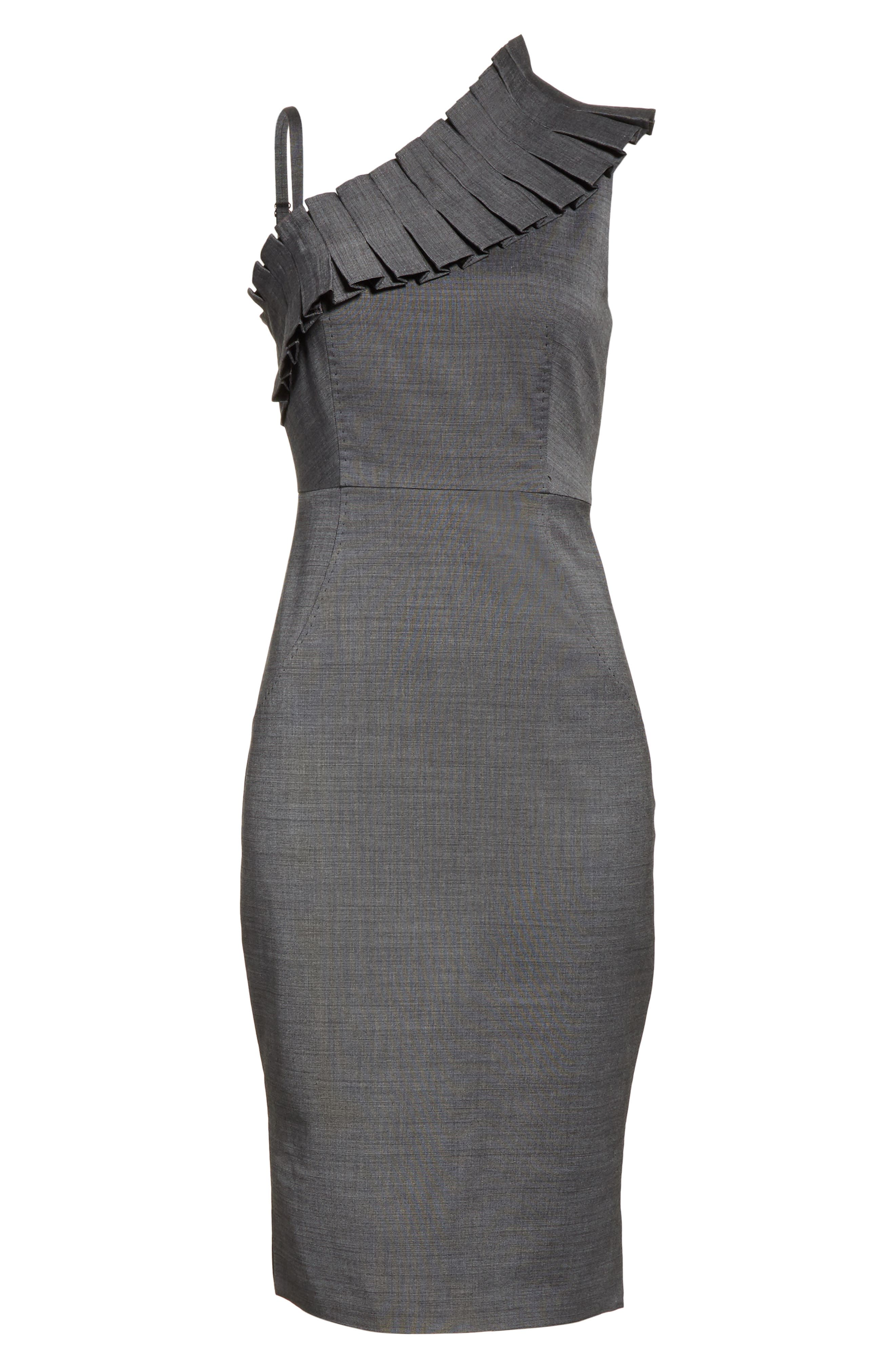 One-Shoulder Sheath Dress,                             Alternate thumbnail 6, color,                             Grey