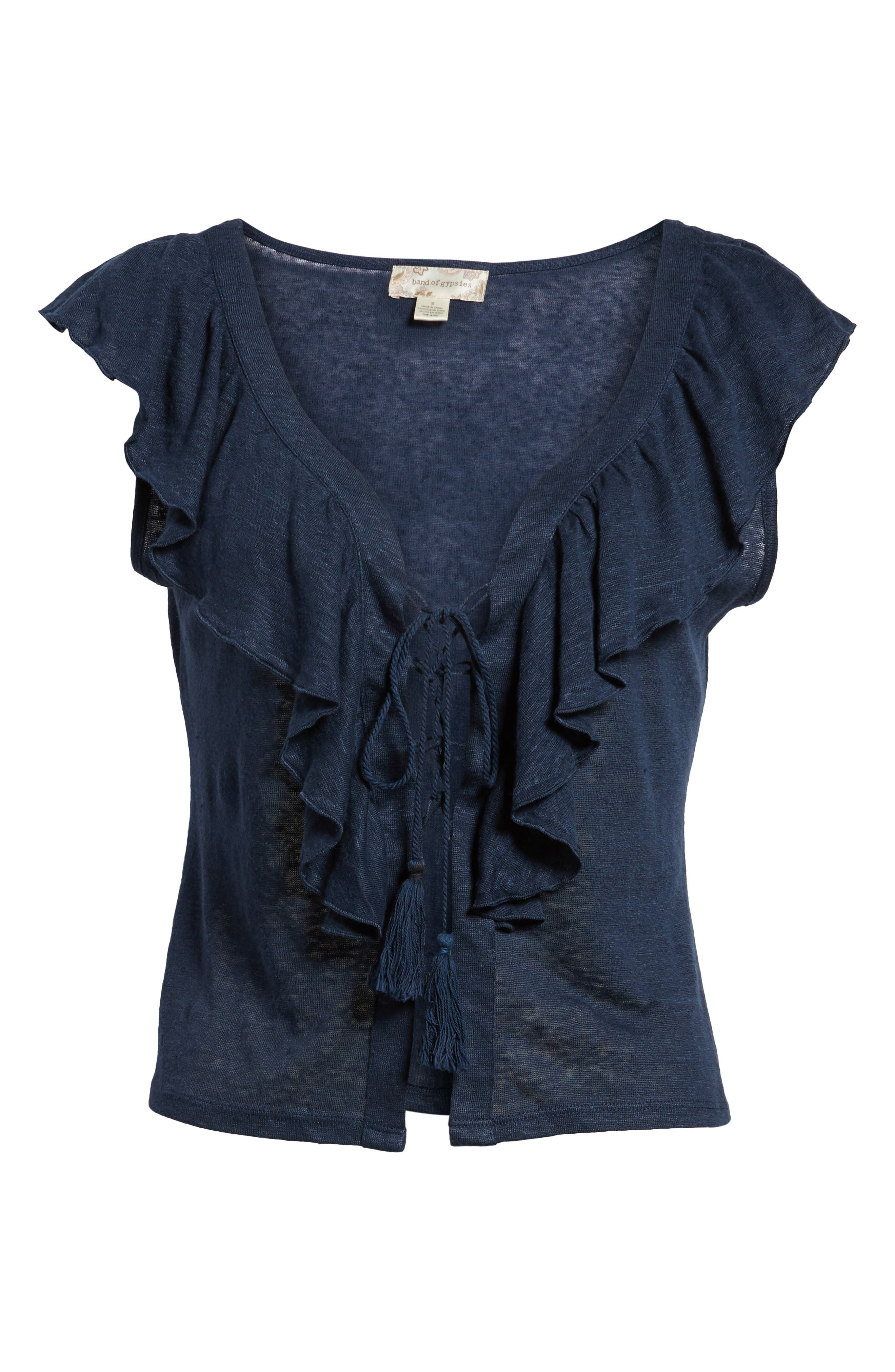 Ruffle Trim Lace Up Linen Top,                             Alternate thumbnail 6, color,                             Navy