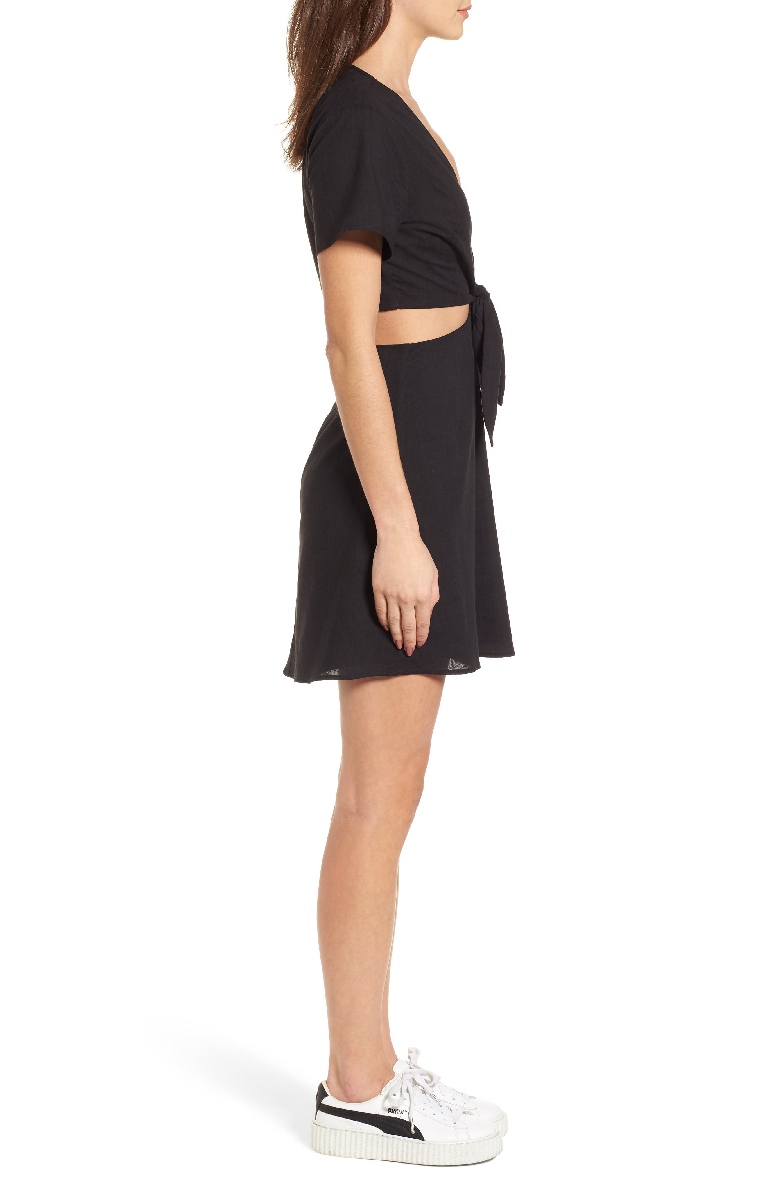 Emily Cutout Minidress,                             Alternate thumbnail 3, color,                             Black