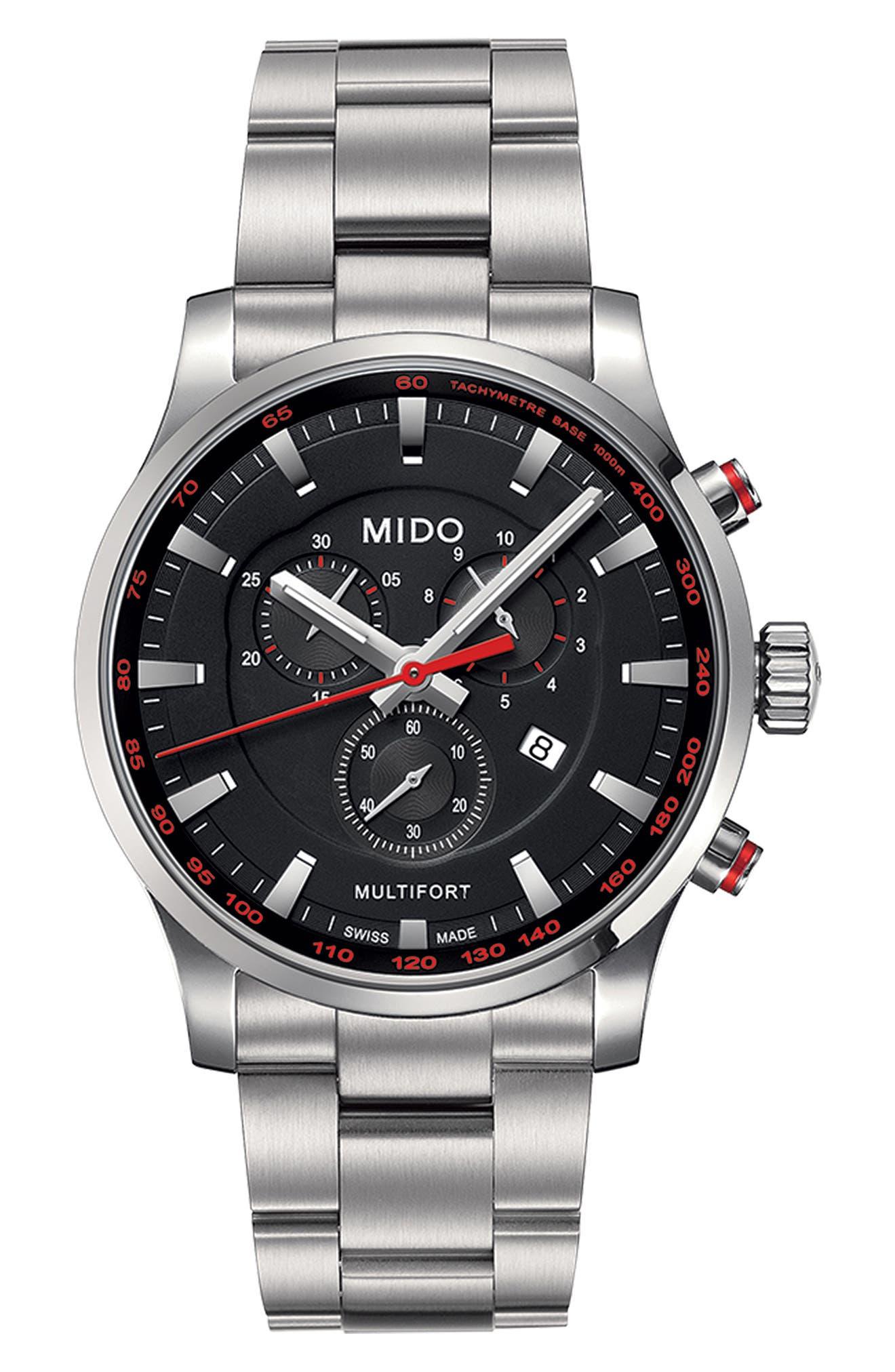 Multifort Chronograph Bracelet Watch, 42mm,                         Main,                         color, Silver/ Black/ Silver