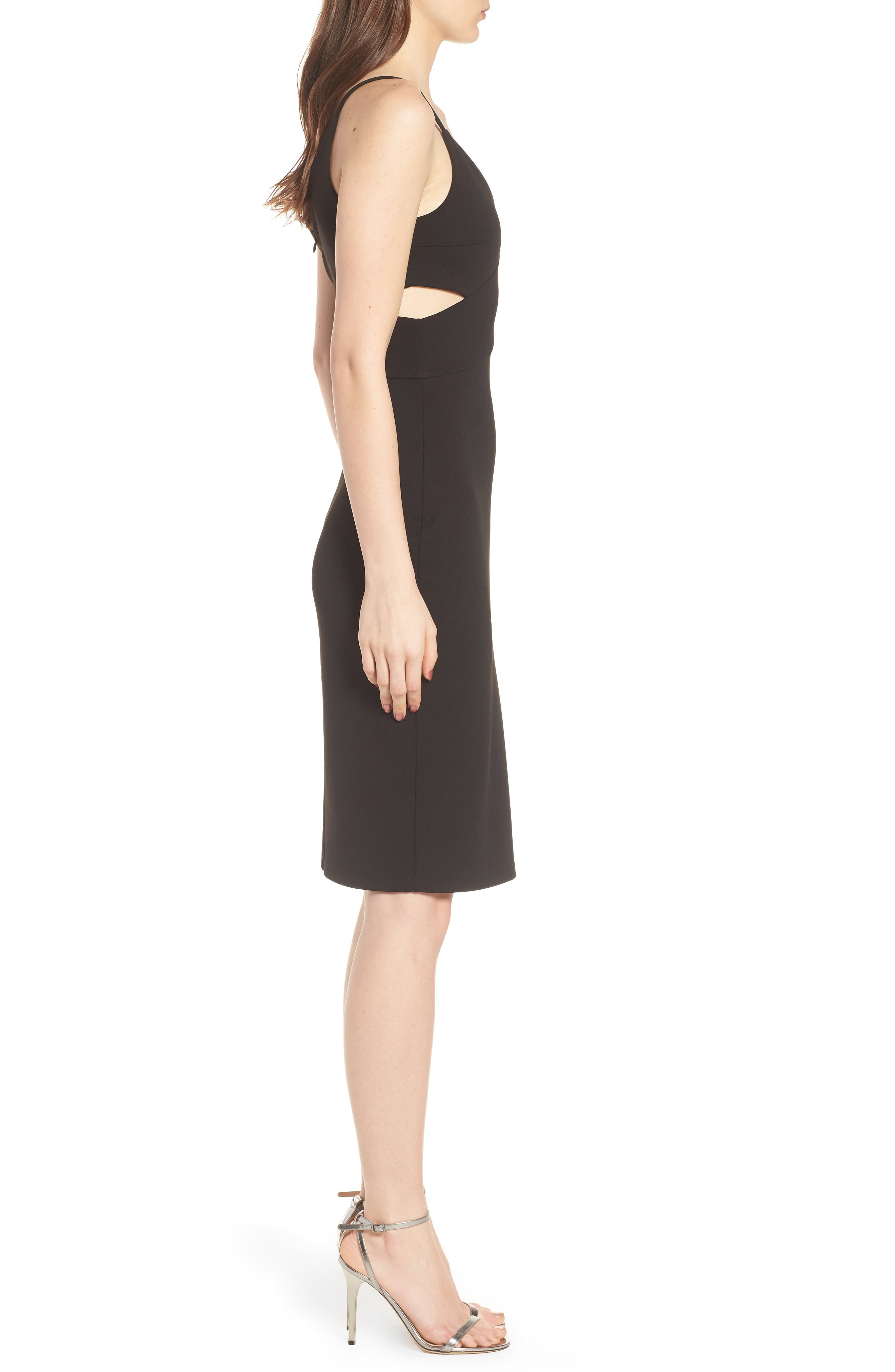Side Cutout Body-Con Dress,                             Alternate thumbnail 3, color,                             Black