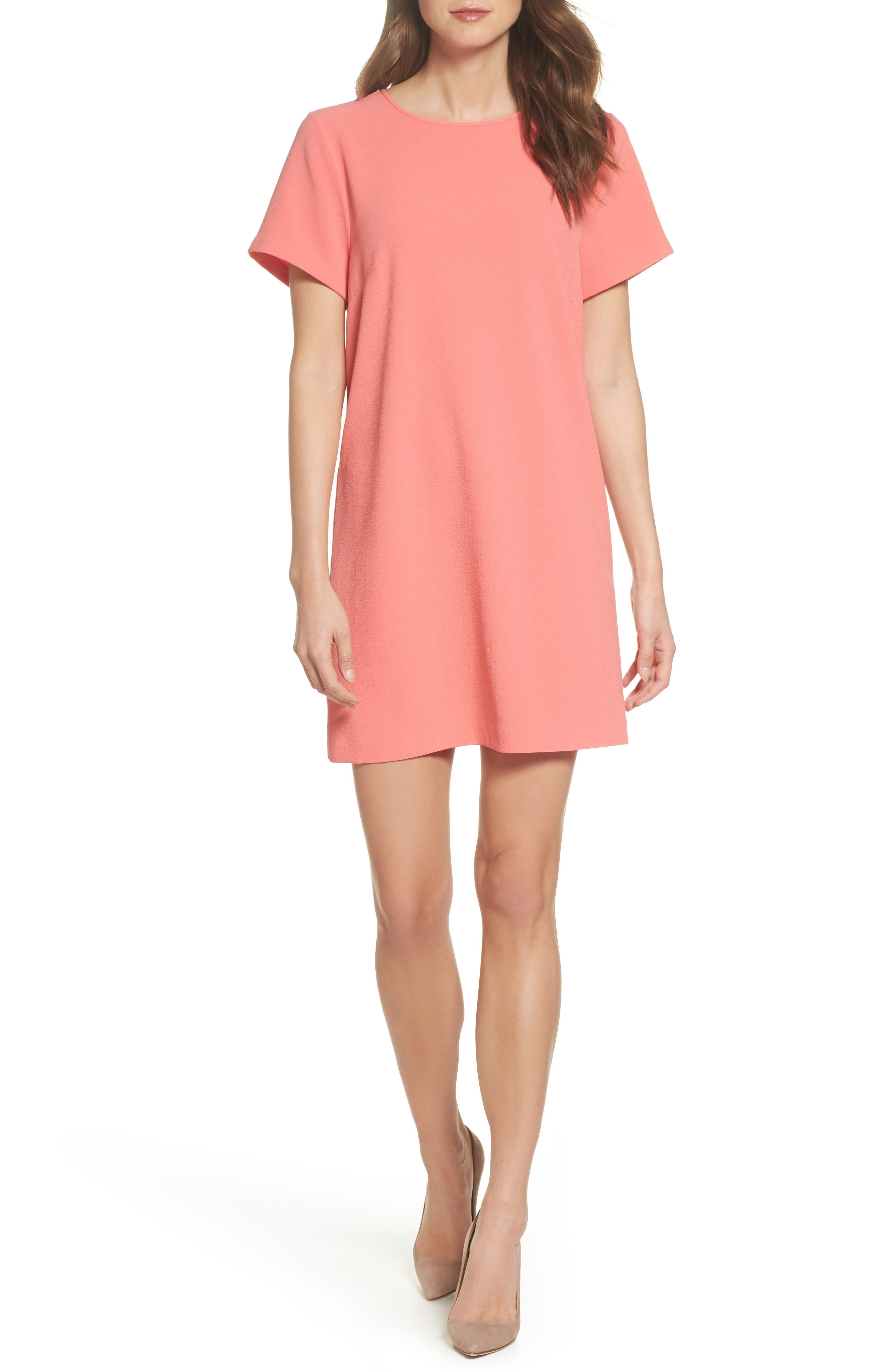 Devery Crepe Shift Dress,                             Main thumbnail 1, color,                             Sugar Coral