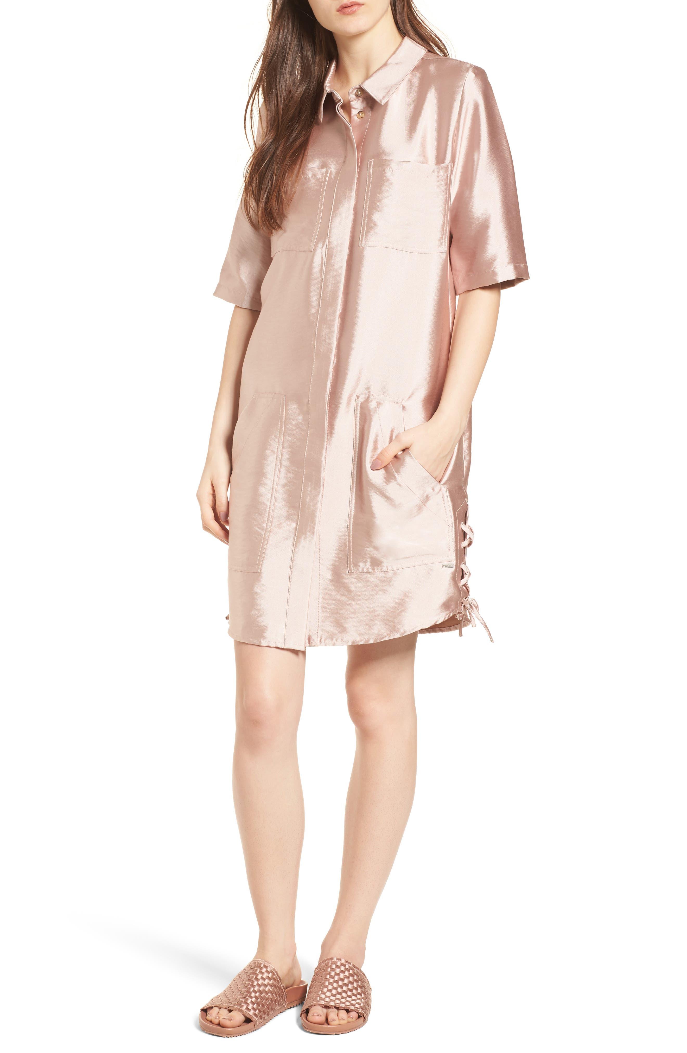 Safari Shirtdress,                             Main thumbnail 1, color,                             Pink Sand