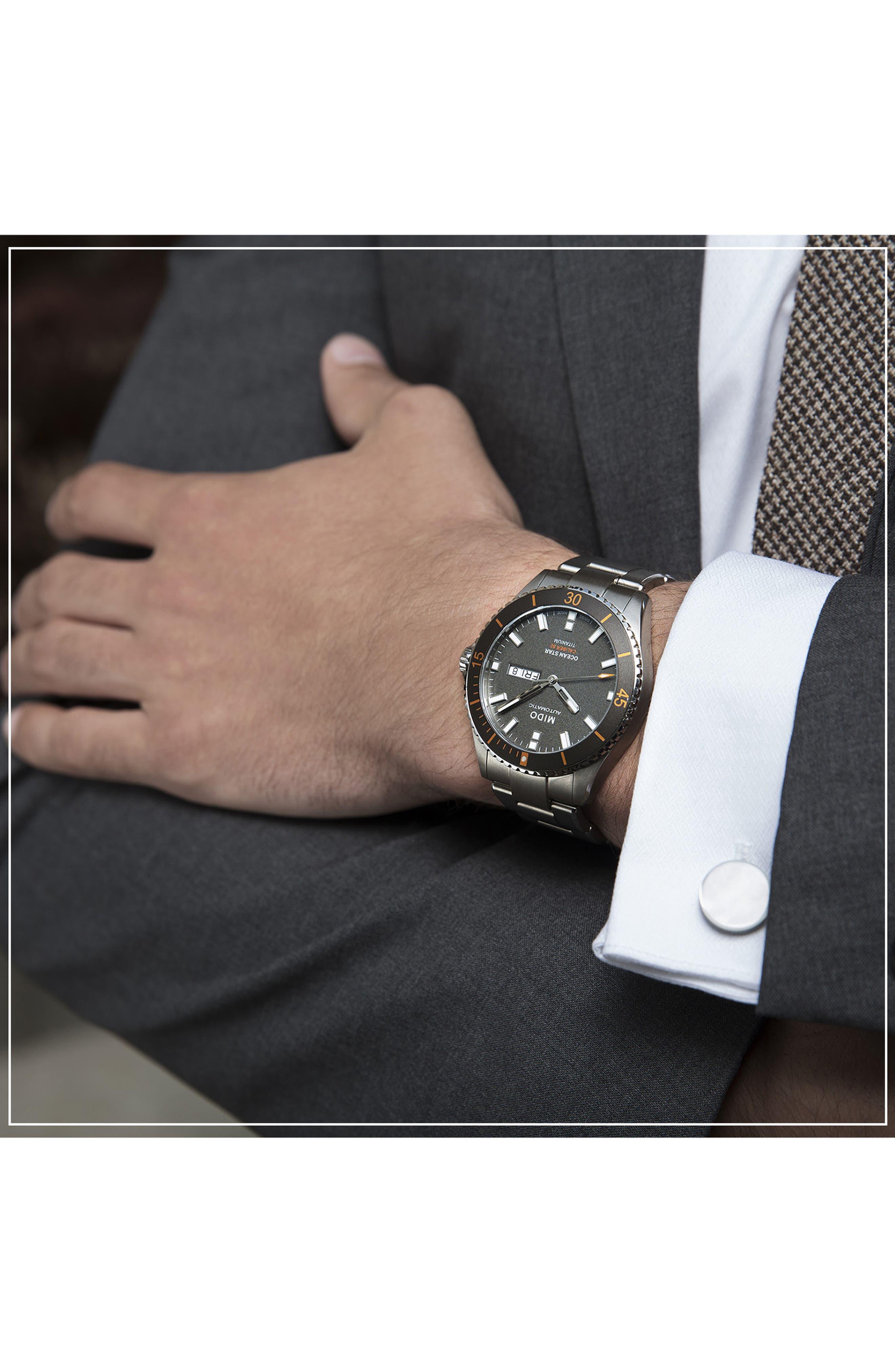 Ocean Star Diver Bracelet Watch, 42mm,                             Alternate thumbnail 4, color,                             Grey