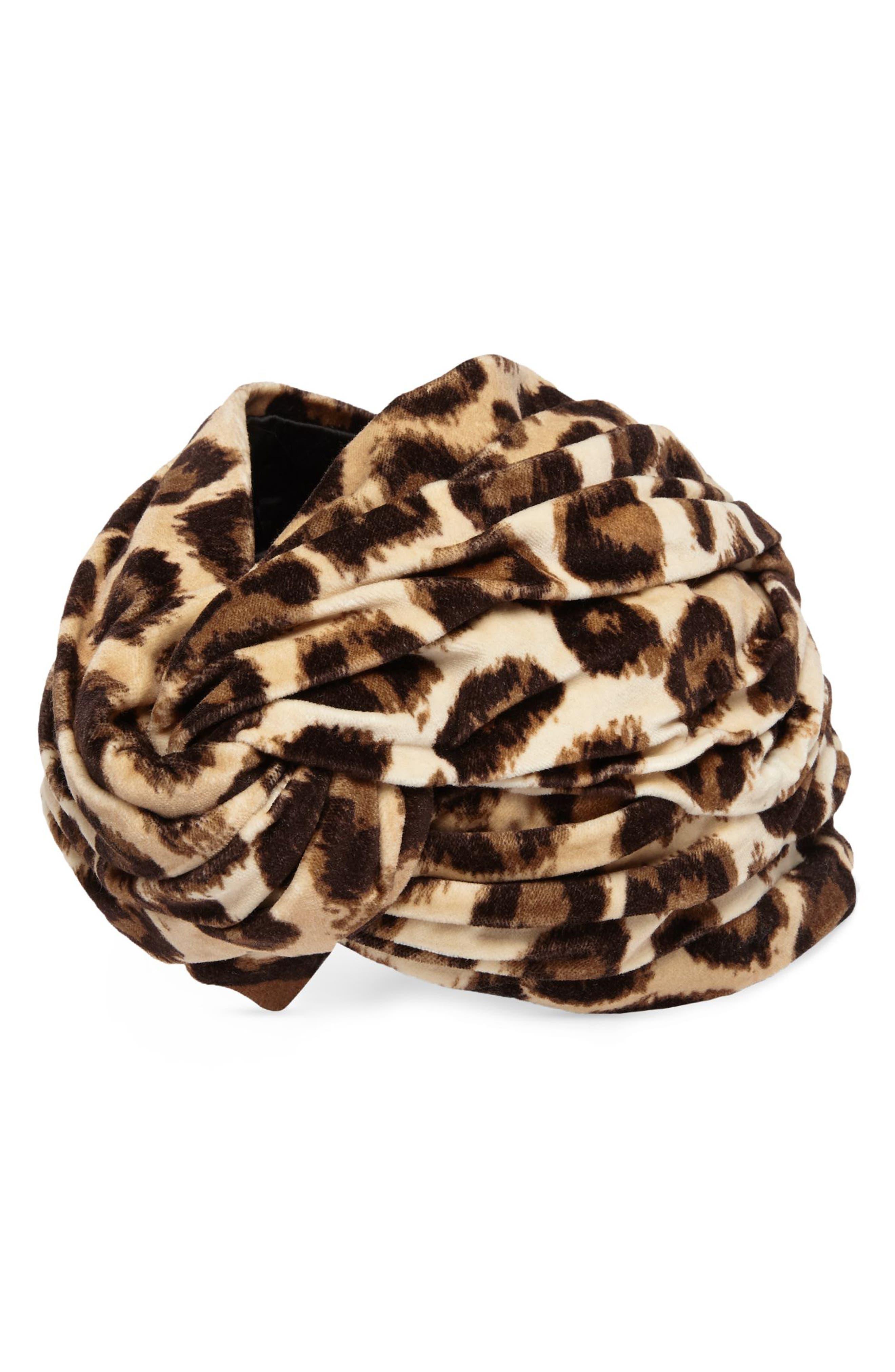 Lucileo Leopard Velvet Turban Headband,                             Alternate thumbnail 2, color,                             Beige/ Black