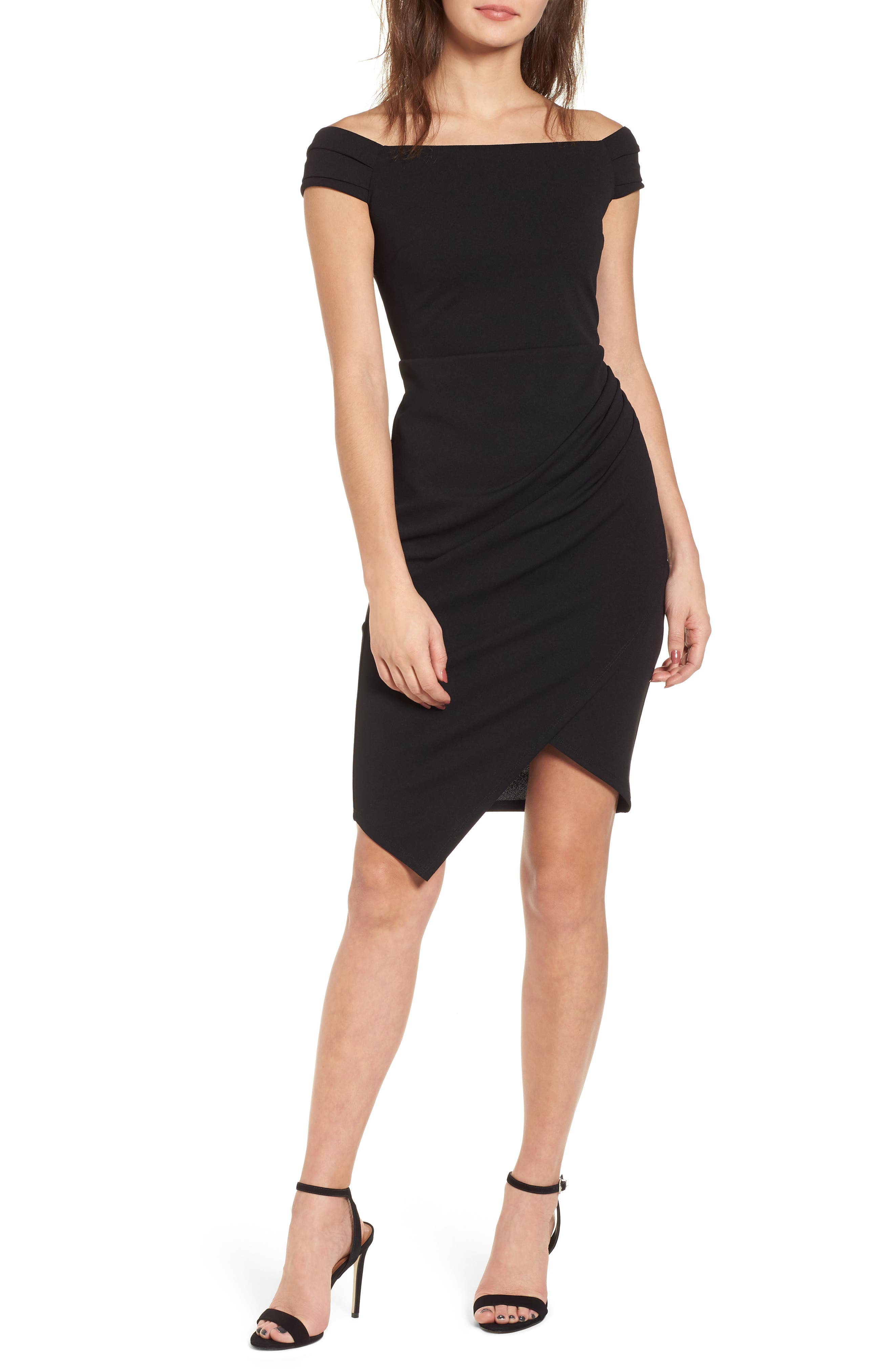 Off the Shoulder Body-Con Dress,                             Main thumbnail 1, color,                             Black