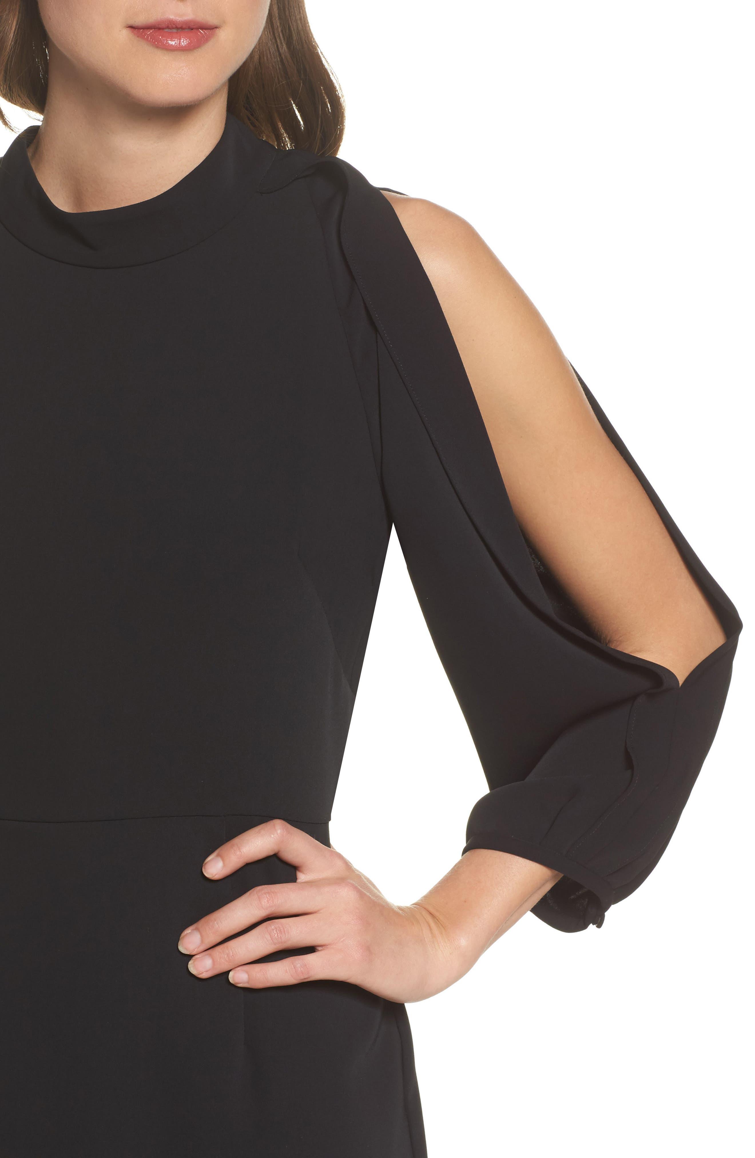Split Sleeve Minidress,                             Alternate thumbnail 4, color,                             Black