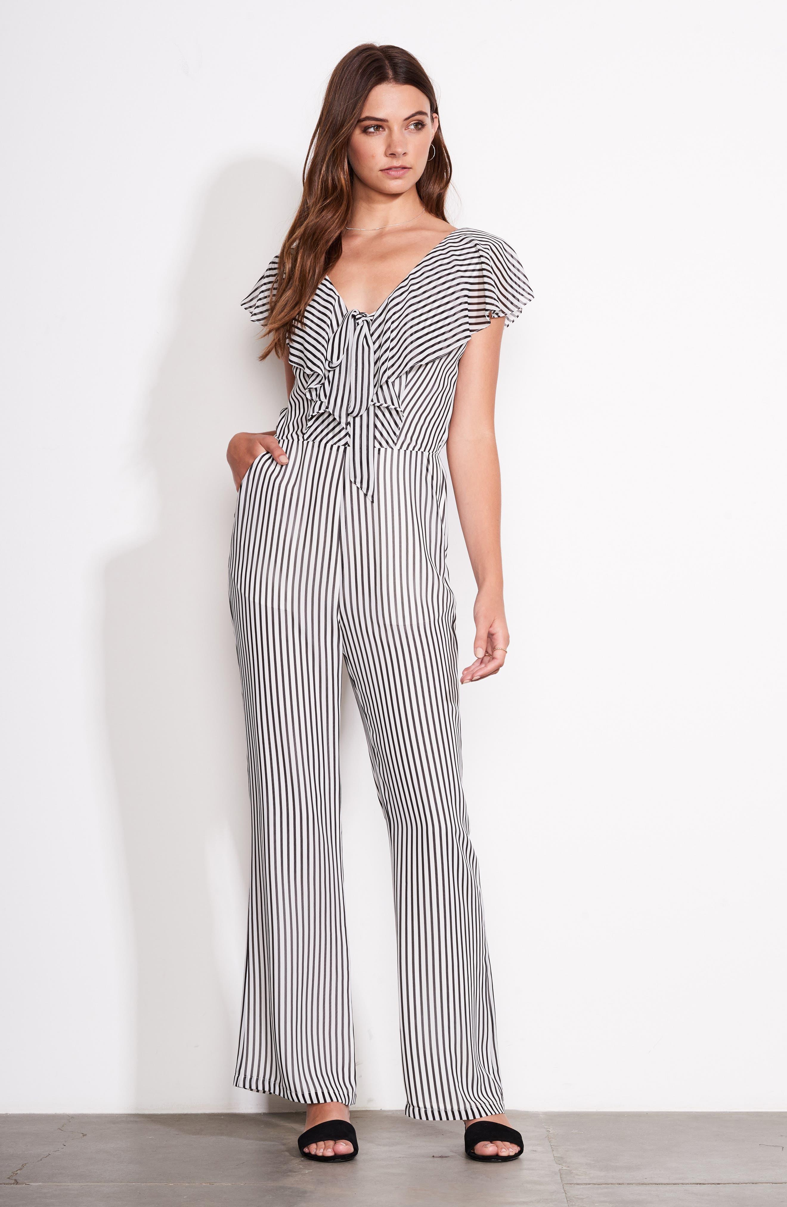 Cherry on Top Stripe Ruffle Jumpsuit,                             Alternate thumbnail 2, color,                             Black/ White Stripe