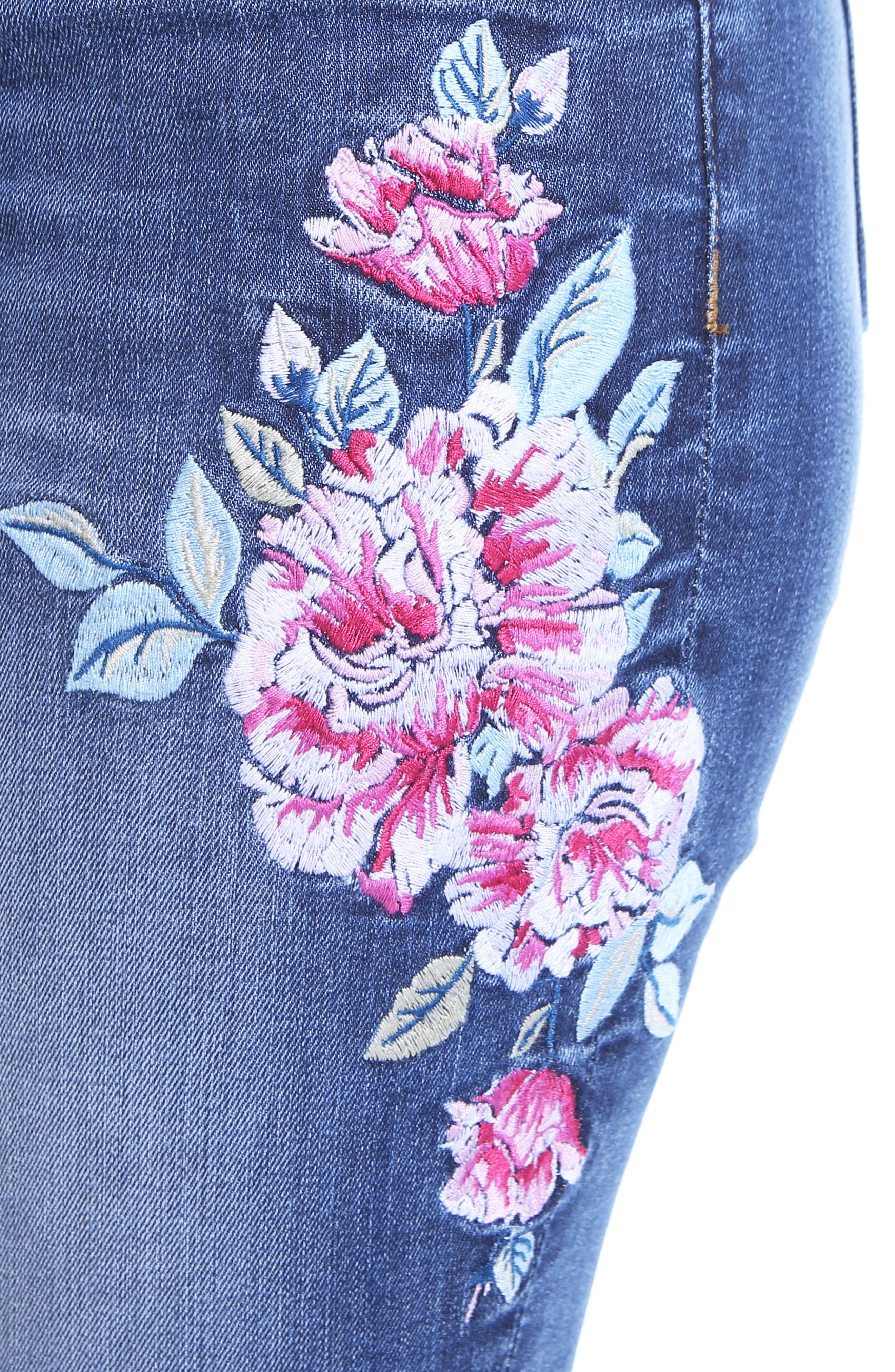 Connie Embroided Frayed Hem Ankle Skinny Jeans,                             Alternate thumbnail 5, color,                             Assigned