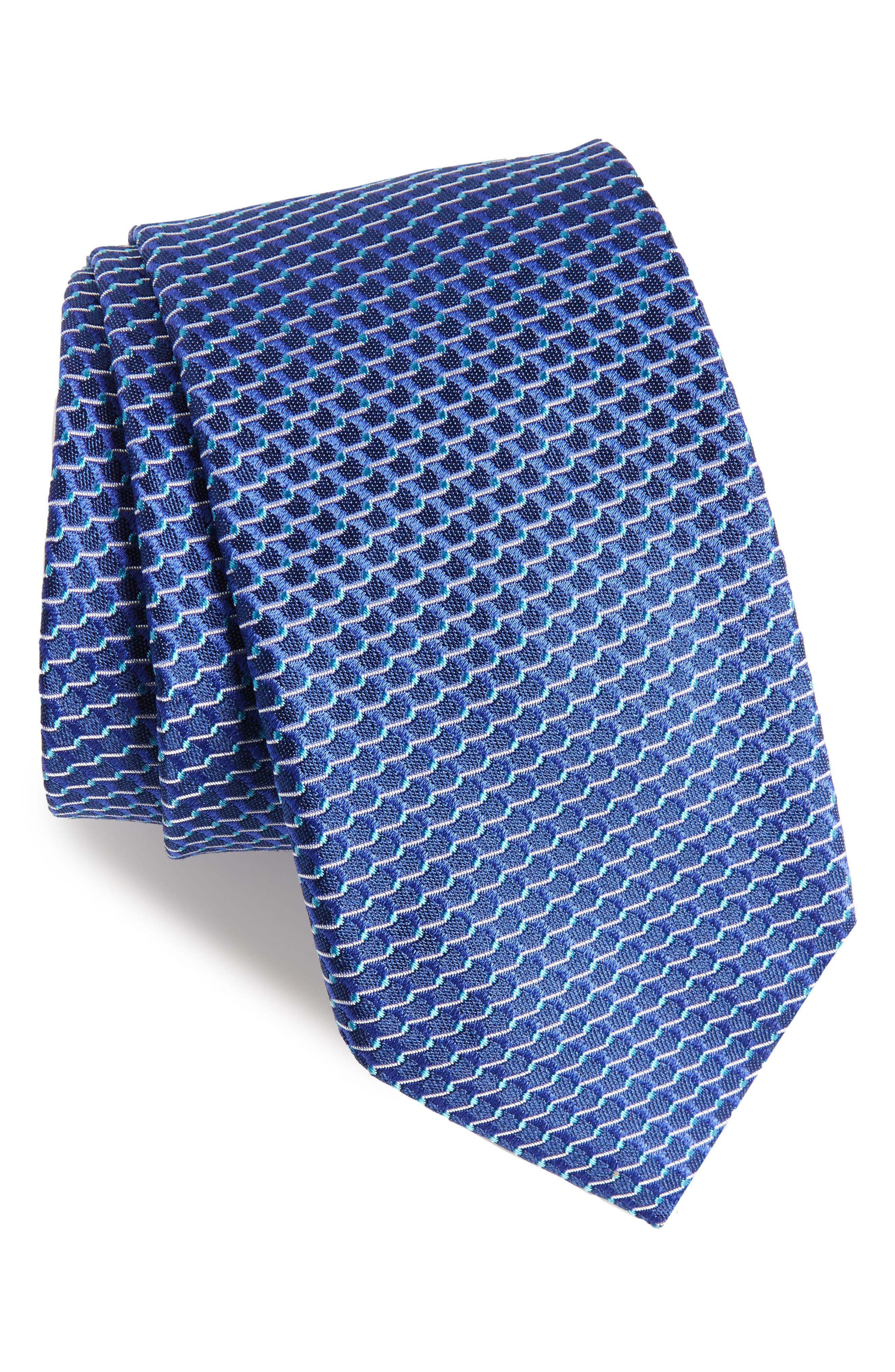 Geometric Silk Tie,                             Main thumbnail 1, color,                             Blue