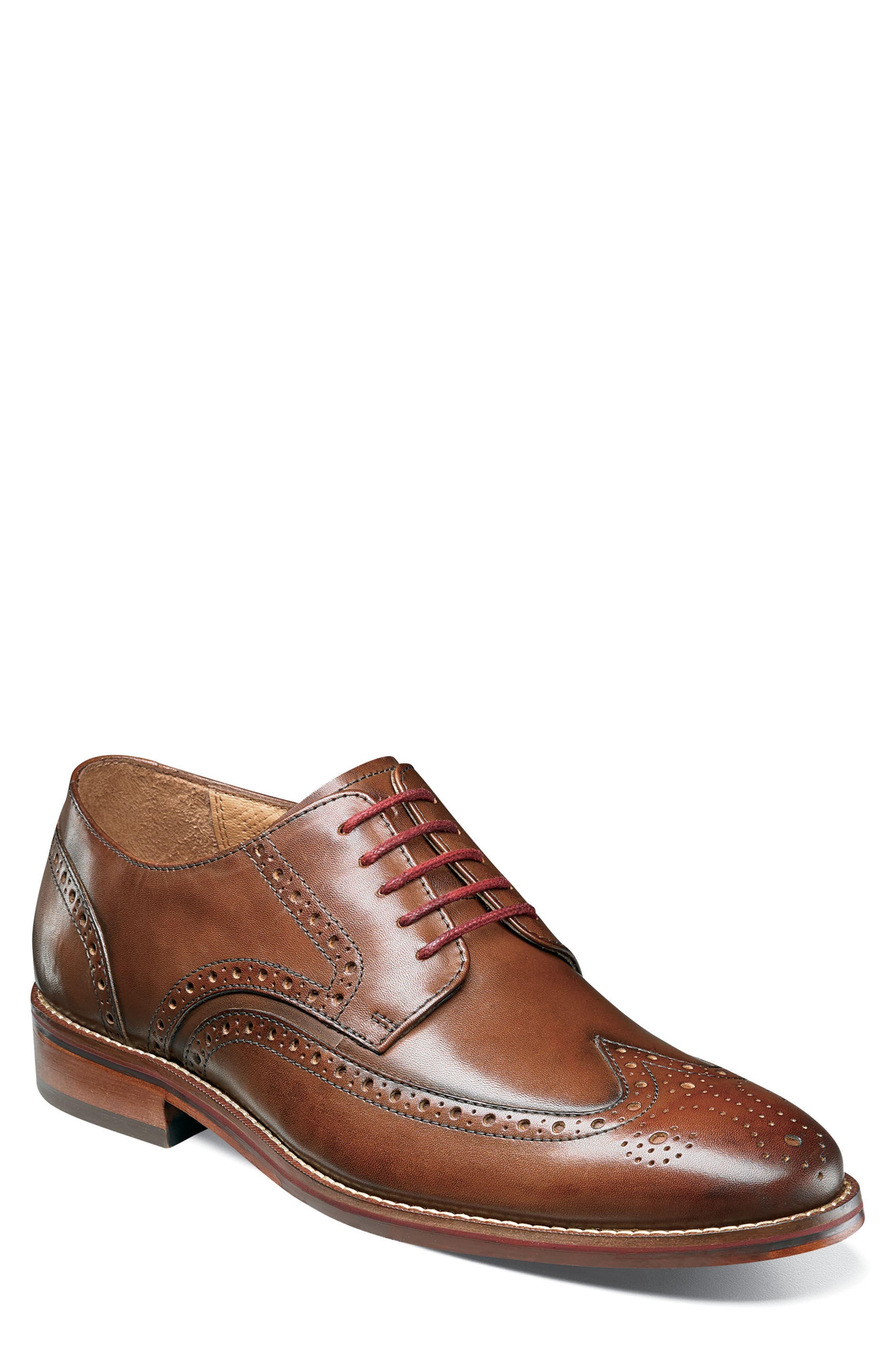 Salerno Wingtip,                             Main thumbnail 1, color,                             Cognac Leather