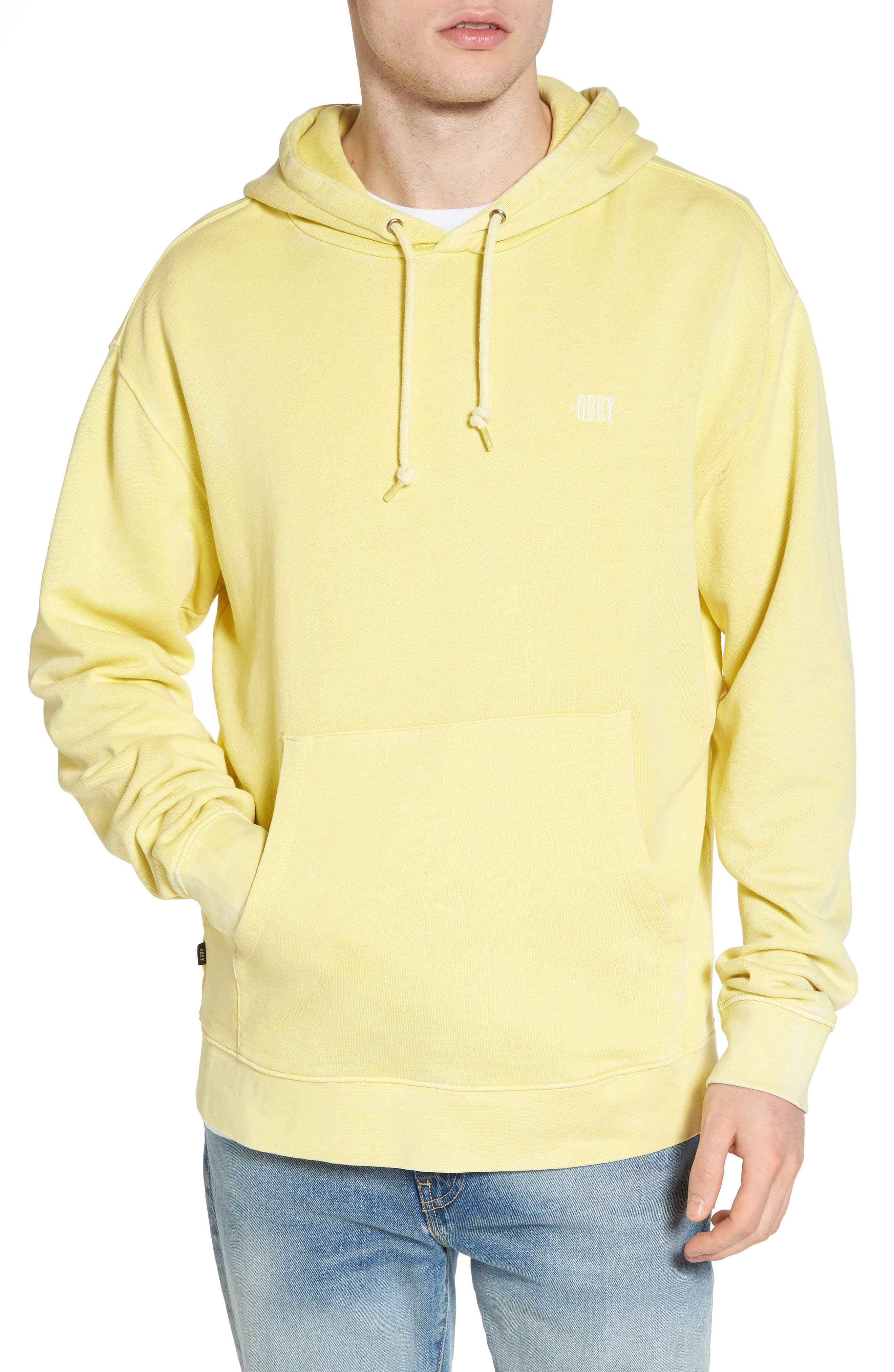 Faded Pigment Dyed Hoodie Sweatshirt,                         Main,                         color, Yellow