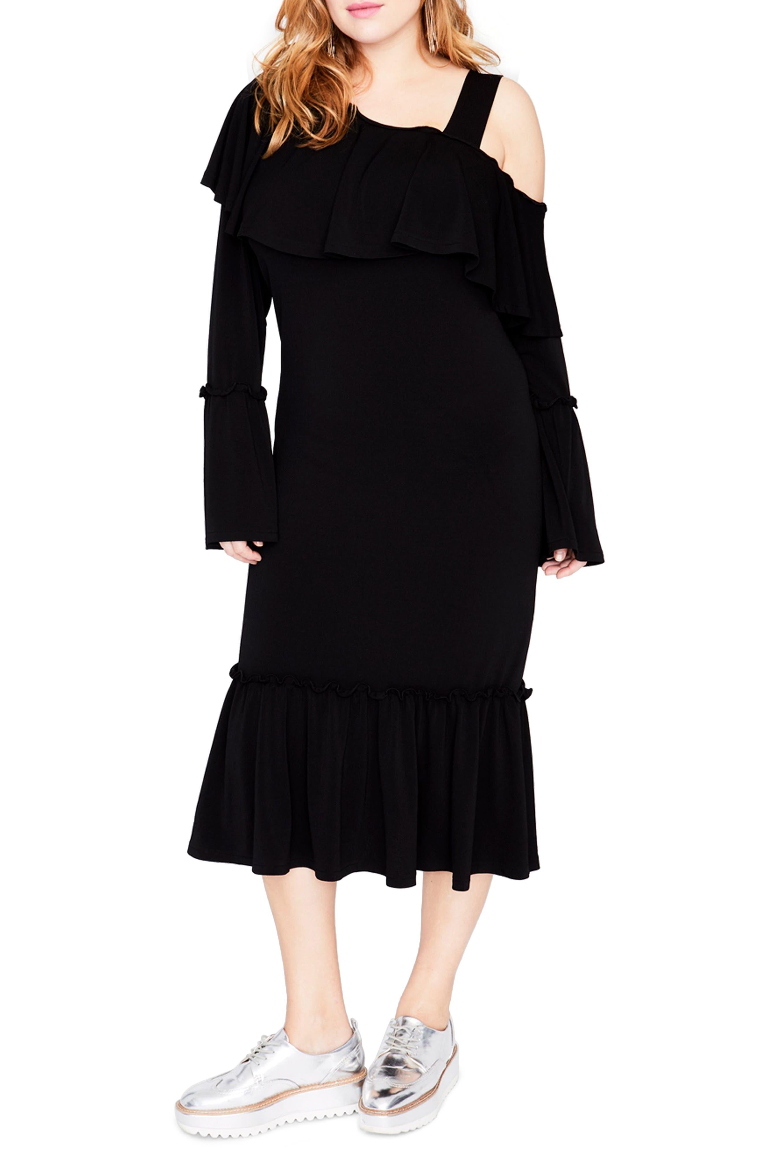 RACHEL Rachel Roy Cold Shoulder Ruffle Dress (Plus Size)