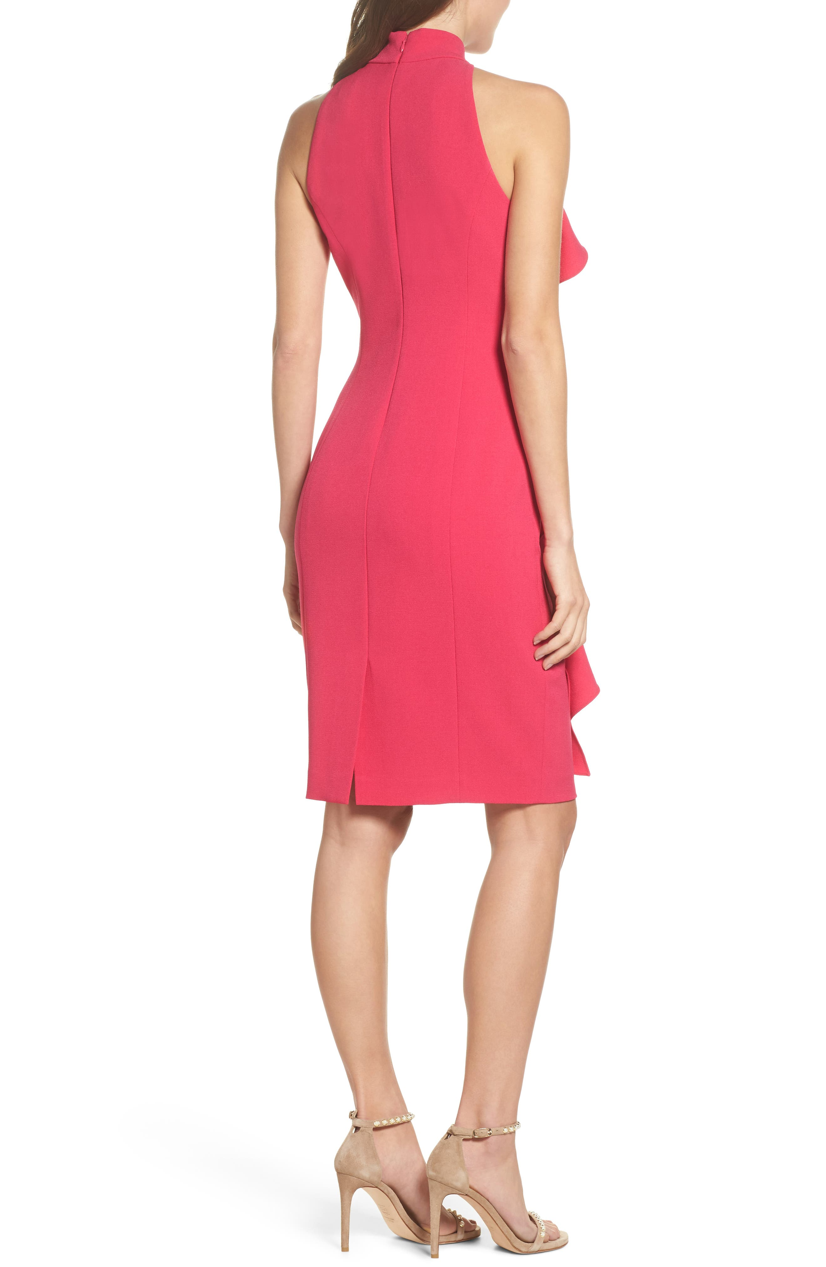 Ruffle Sheath Dress,                             Alternate thumbnail 2, color,                             Fuchsia