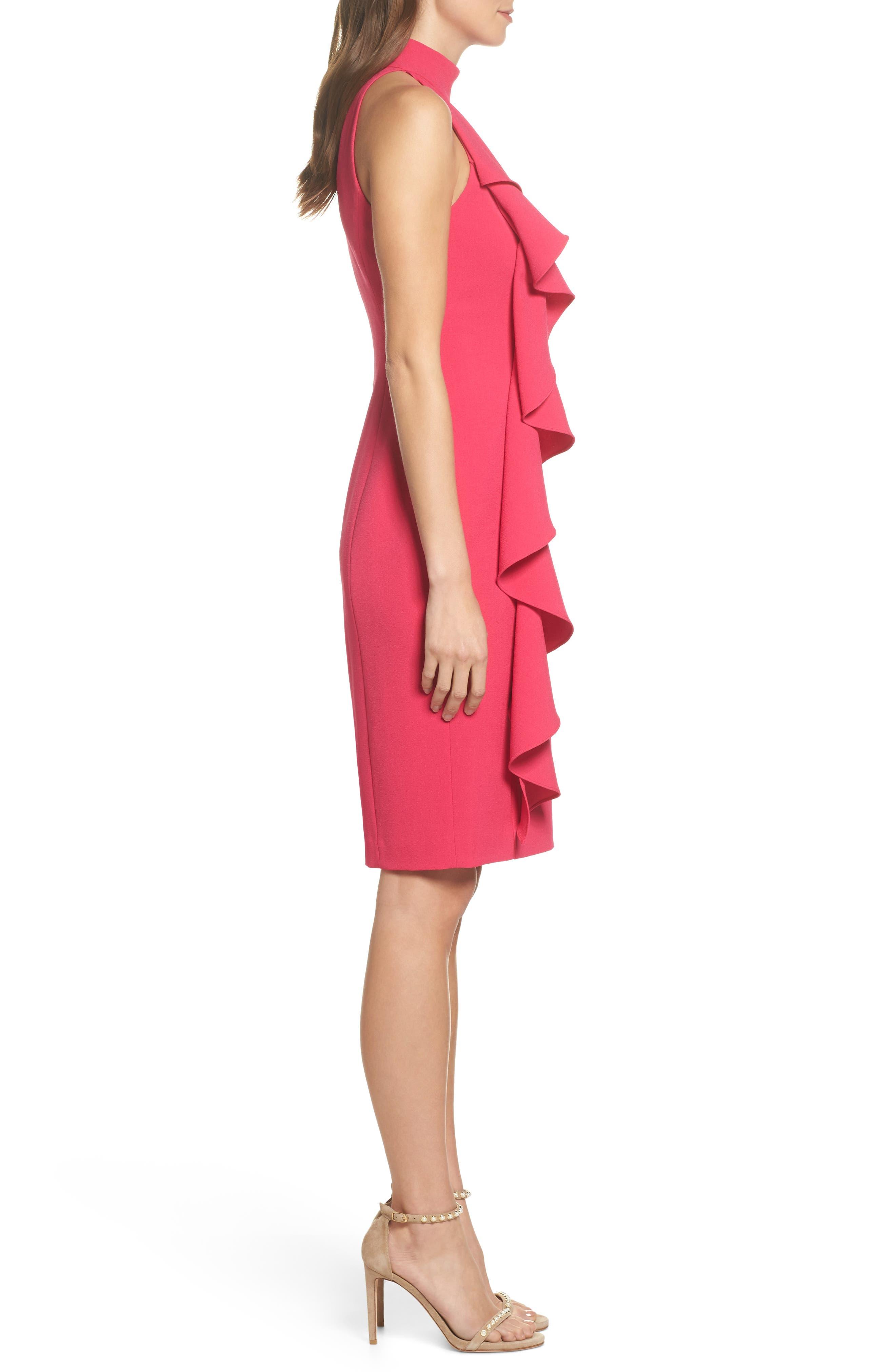 Ruffle Sheath Dress,                             Alternate thumbnail 4, color,                             Fuchsia