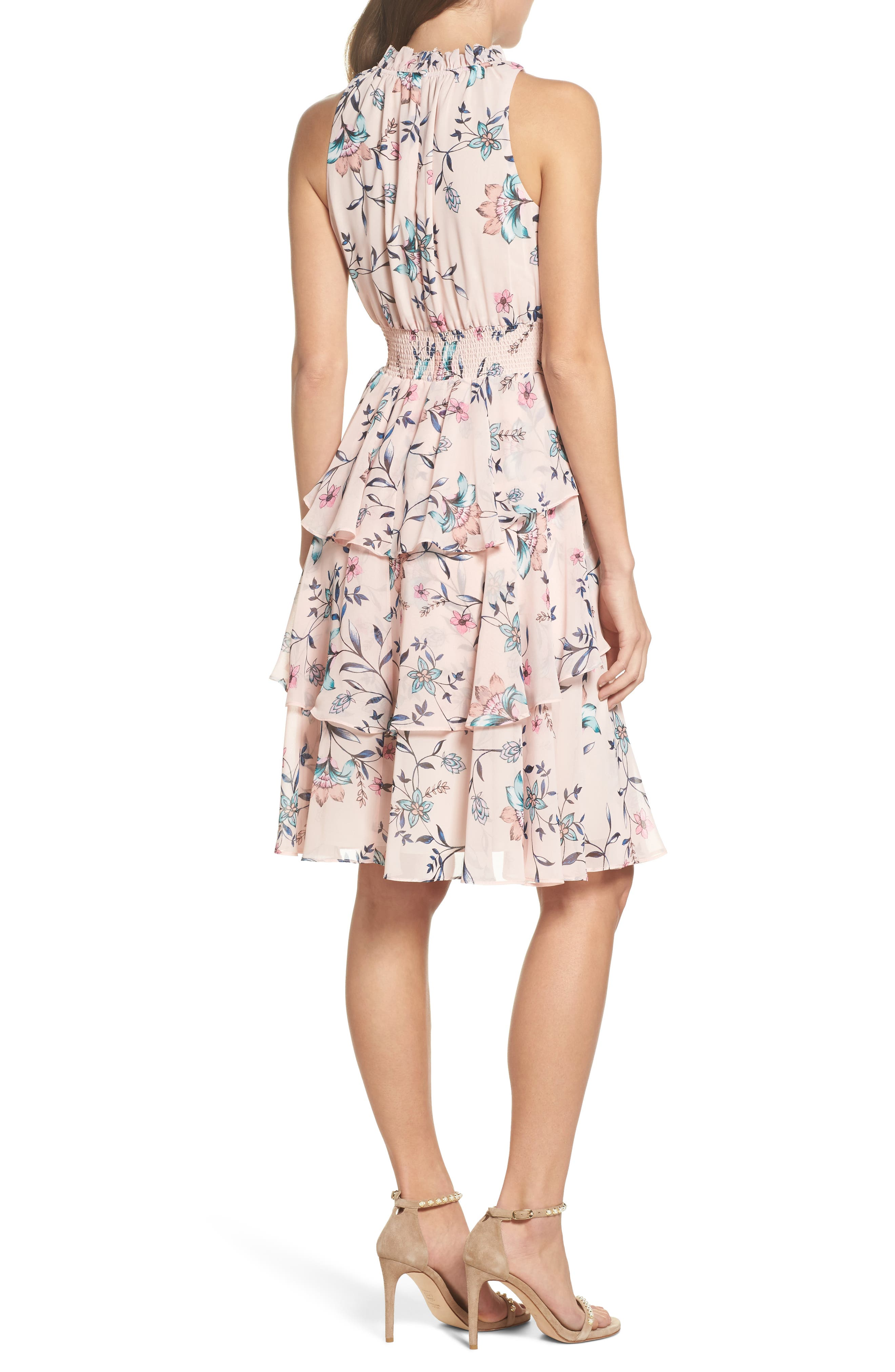 Floral Ruffle Dress,                             Alternate thumbnail 2, color,                             Blush