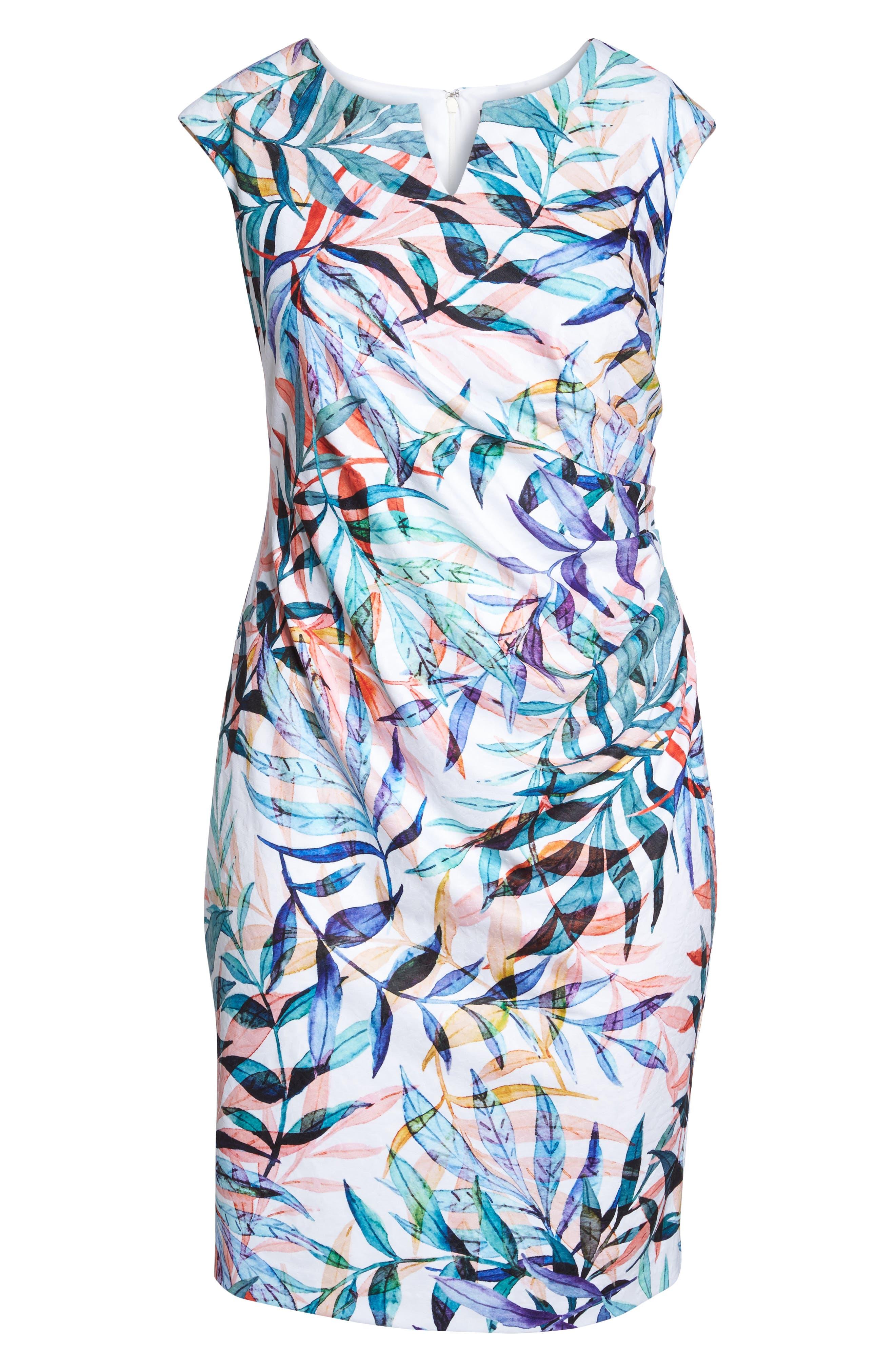 Watercolor Leaves Sheath Dress,                             Alternate thumbnail 6, color,                             Ivory Multi