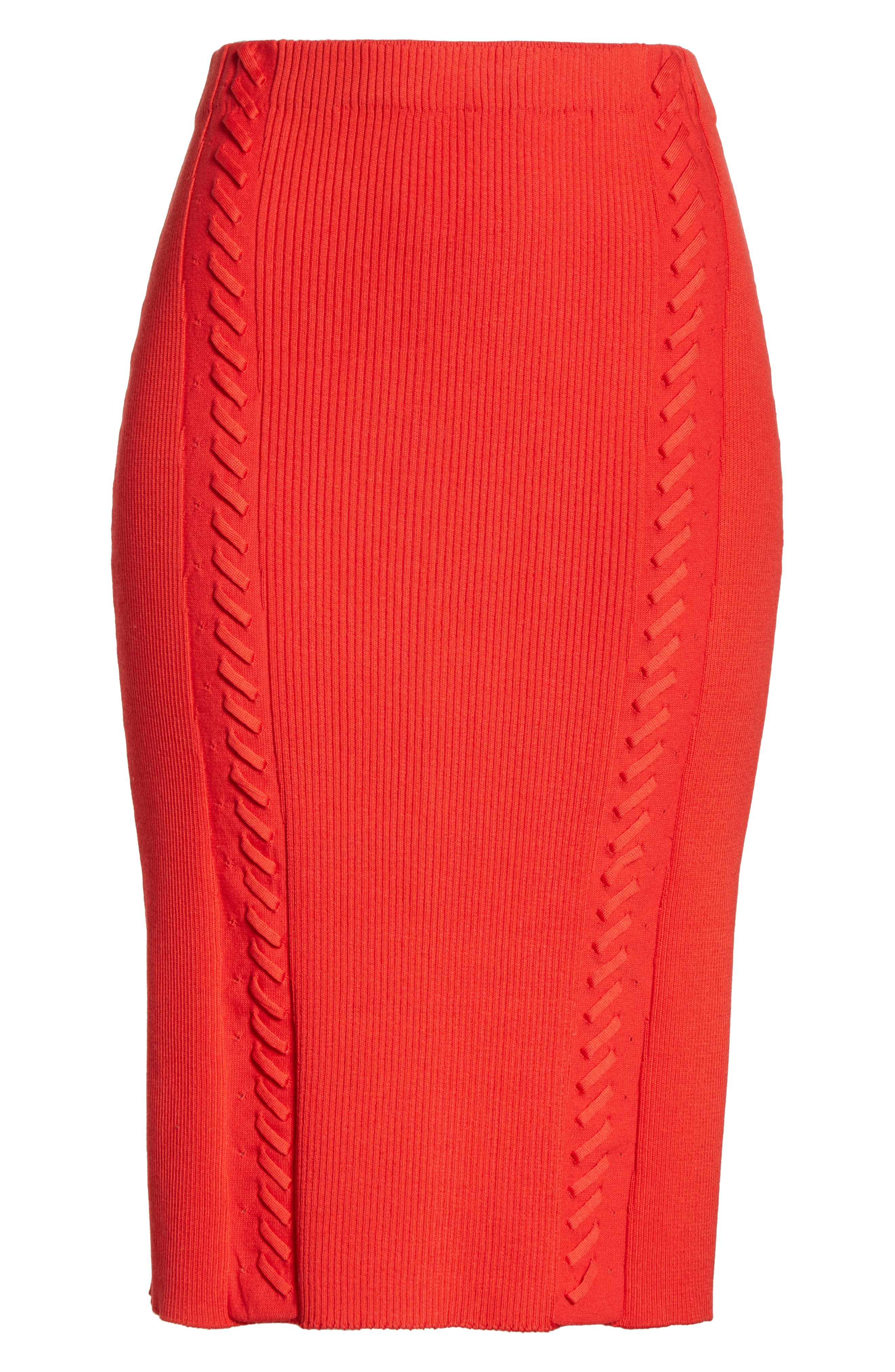 Brandy Whipstitch Pencil Skirt,                             Alternate thumbnail 6, color,                             Red
