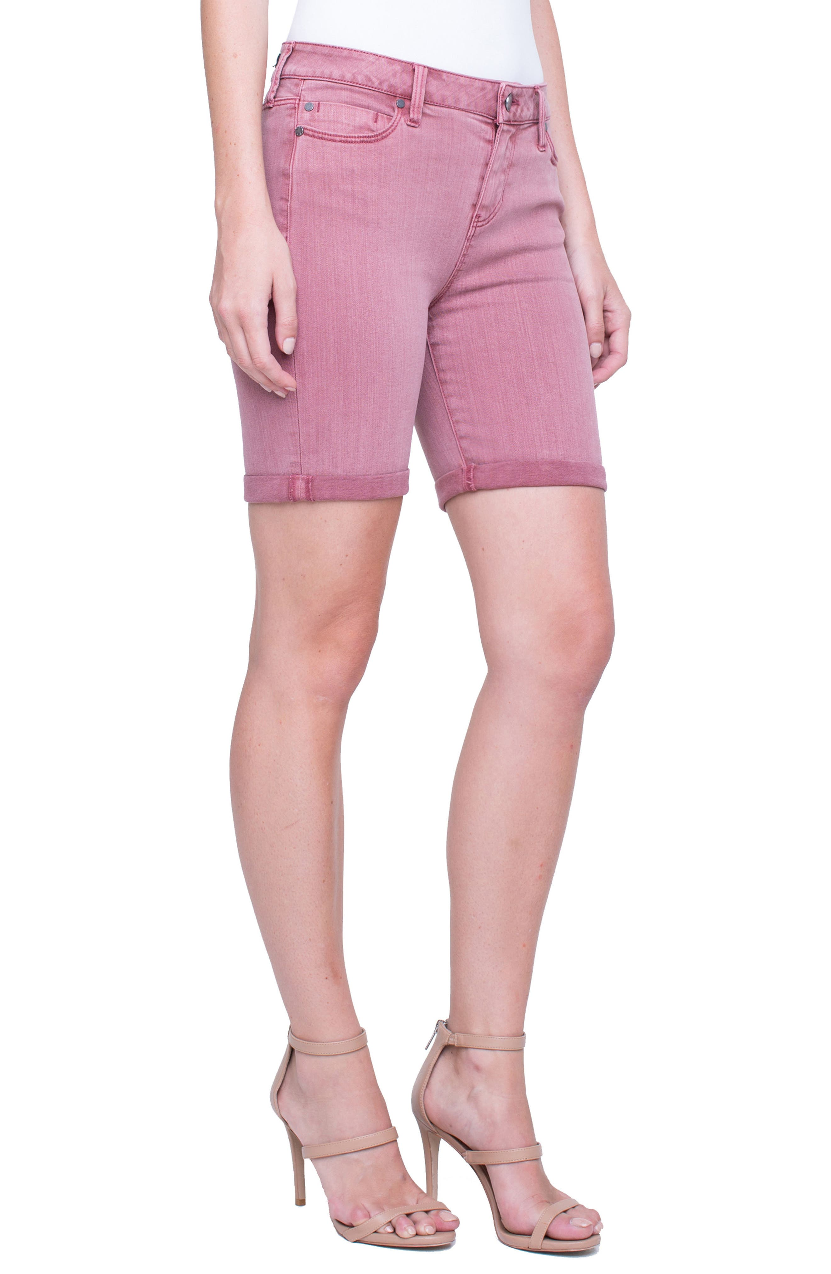 Corine Cuffed Denim Shorts,                             Alternate thumbnail 3, color,                             Roan Rouge