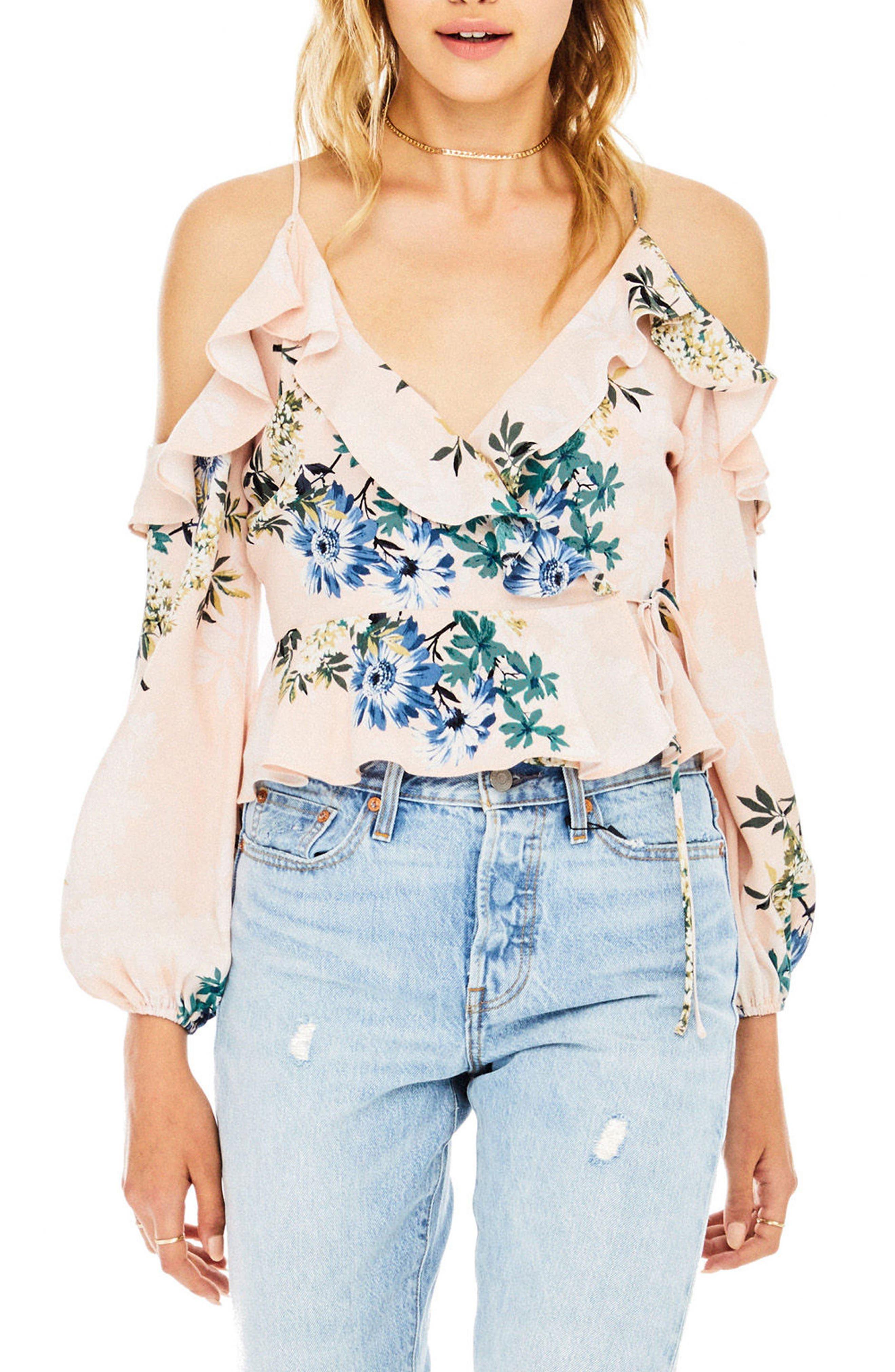 Grace Cold Shoulder Wrap Blouse,                         Main,                         color, Blush Multi Floral
