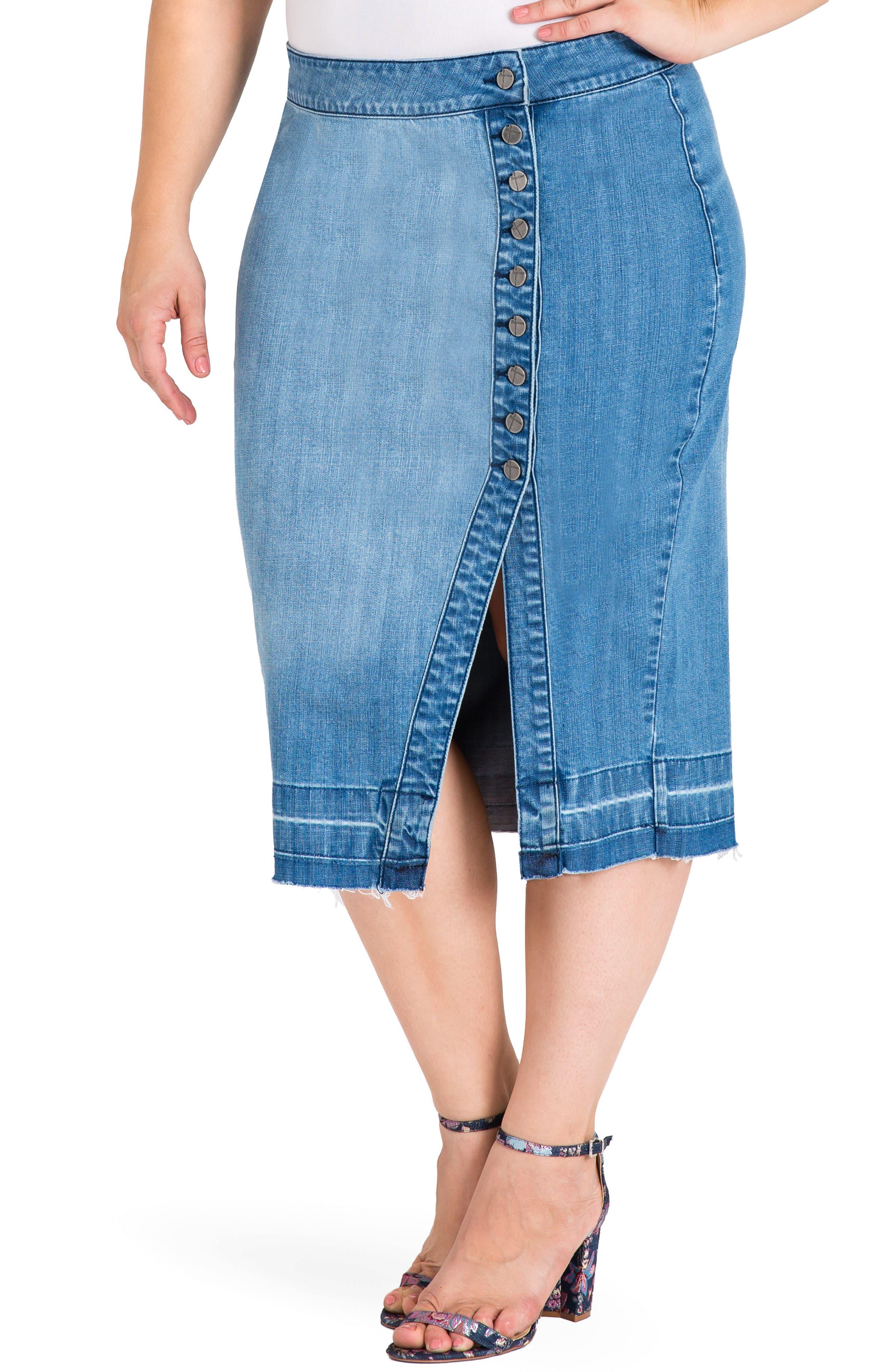 Harley Denim Midi Skirt,                             Main thumbnail 1, color,                             Light Blue