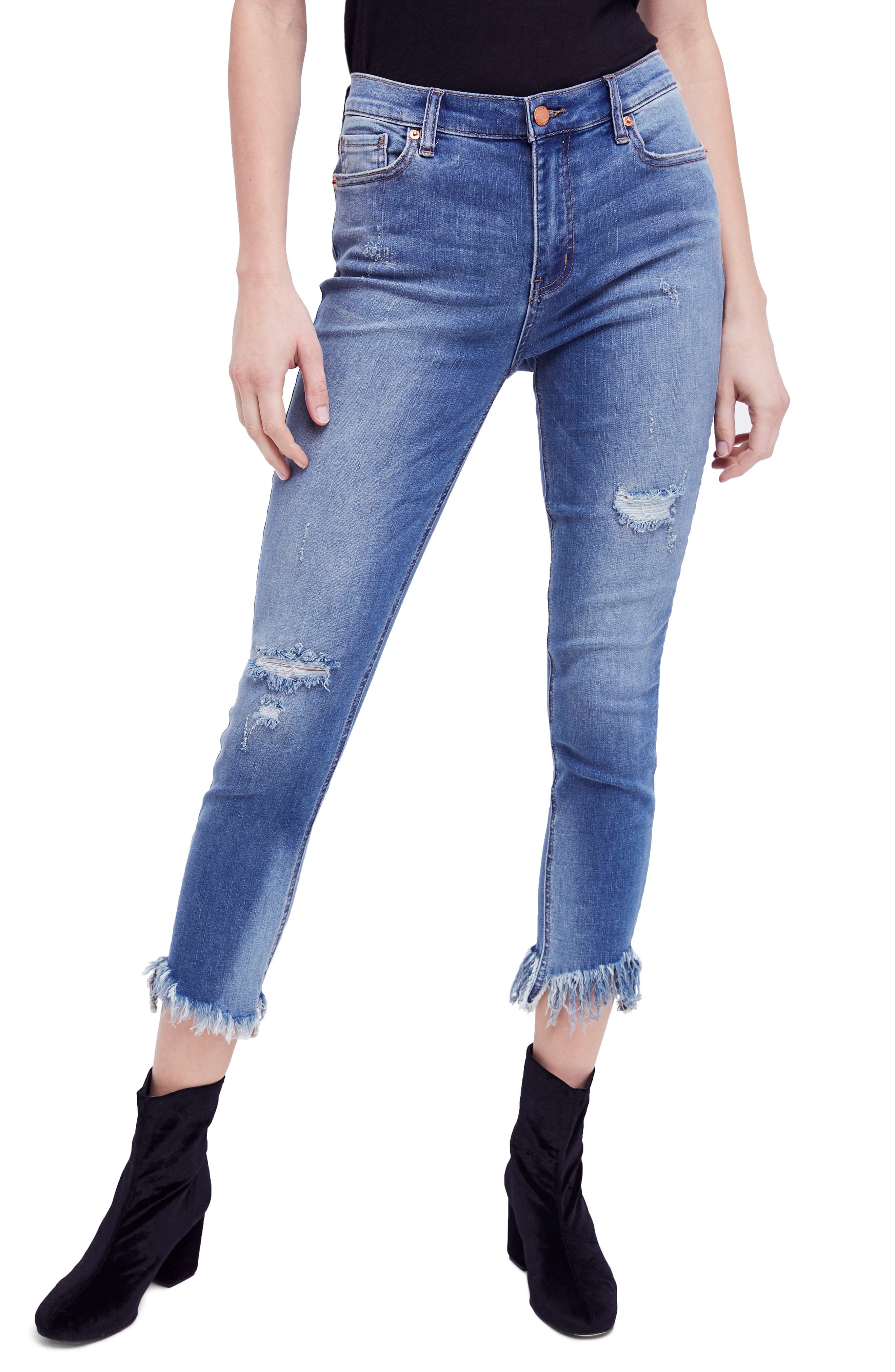 Great Heights Frayed Skinny Jeans,                             Main thumbnail 1, color,                             Sky