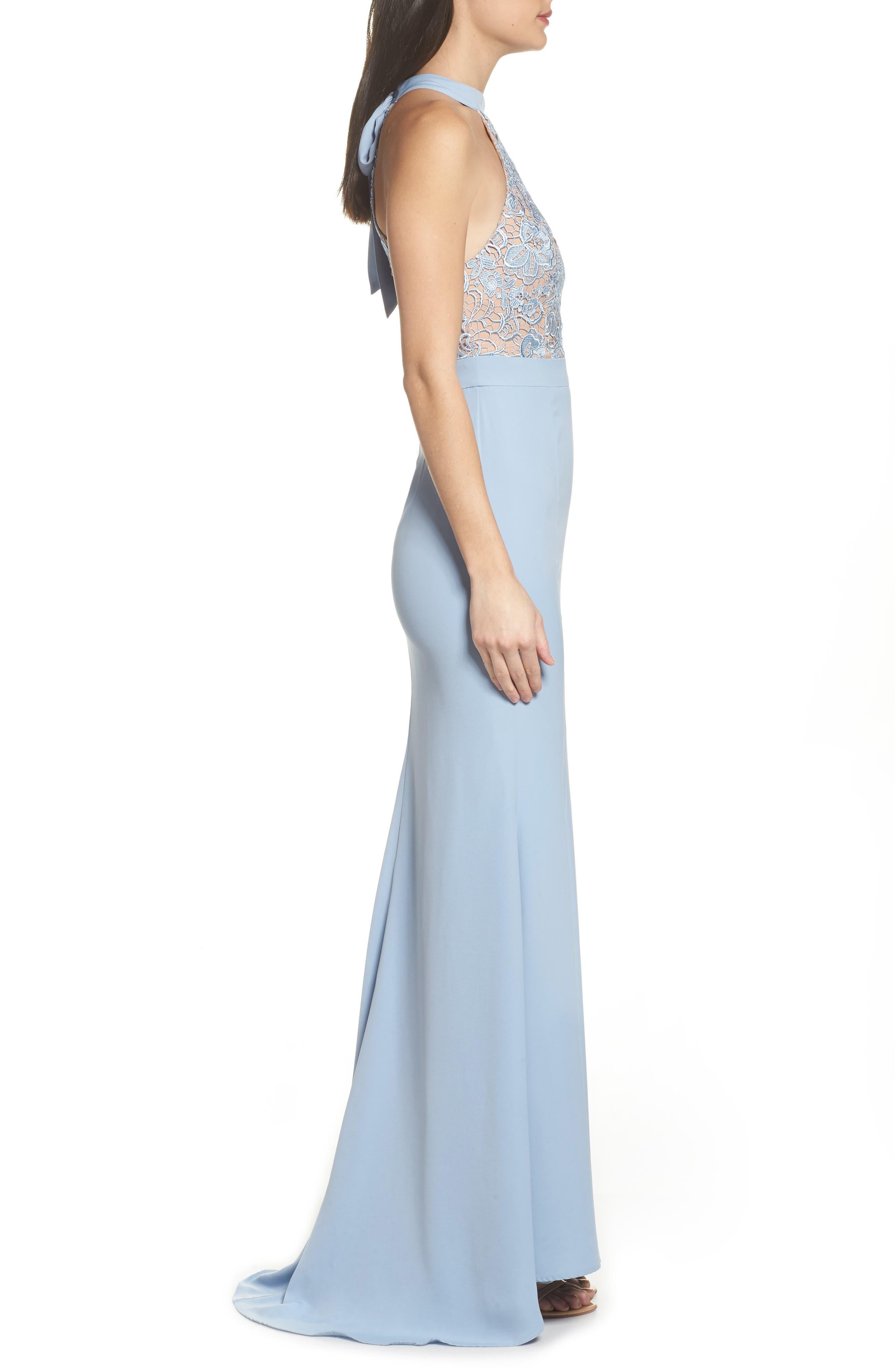 Caden Lace Detail Trumpet Gown,                             Alternate thumbnail 3, color,                             Light Blue