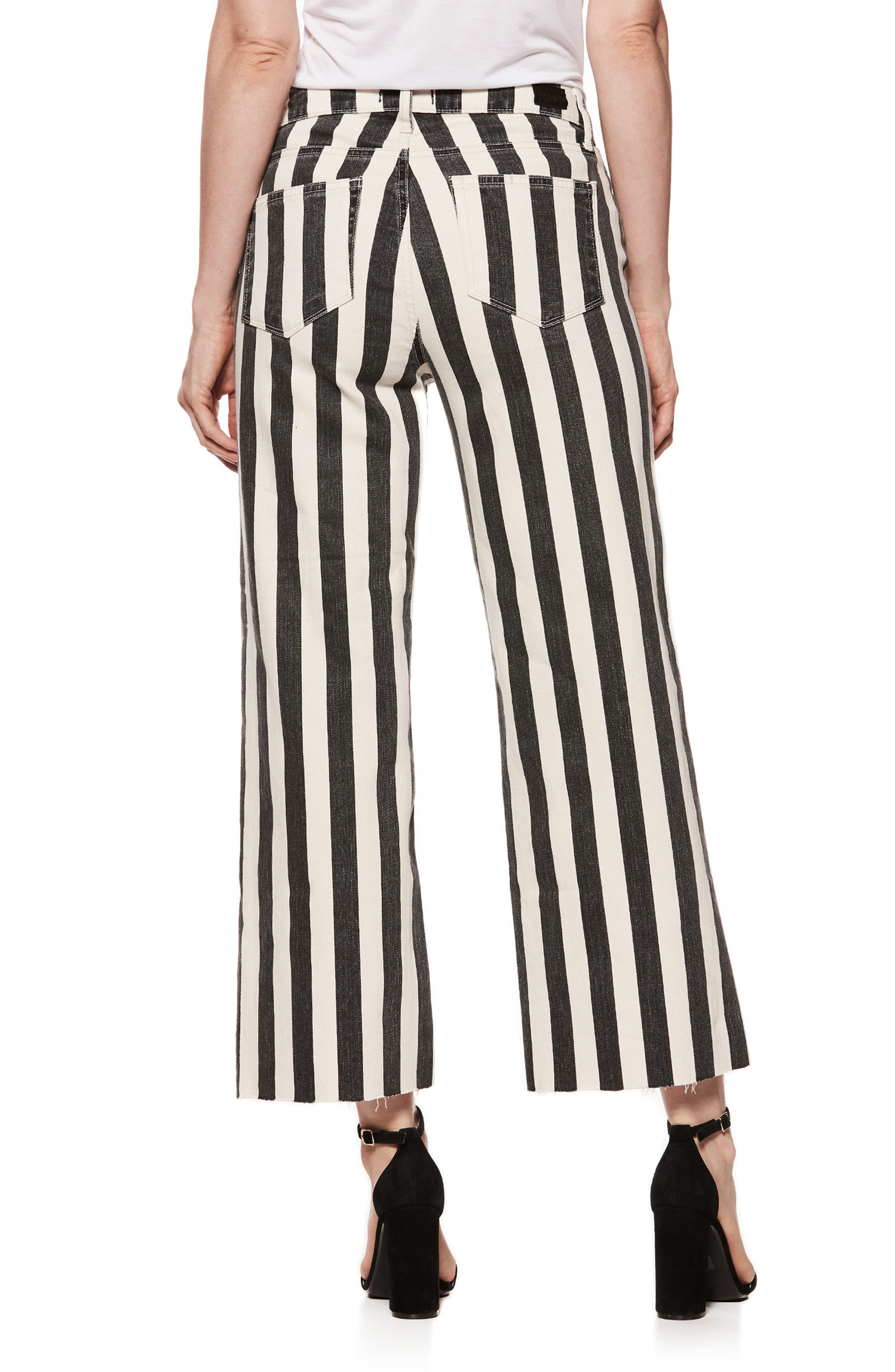 Nellie High Waist Culotte Jeans,                             Alternate thumbnail 3, color,                             Black/ Ecru Stripe