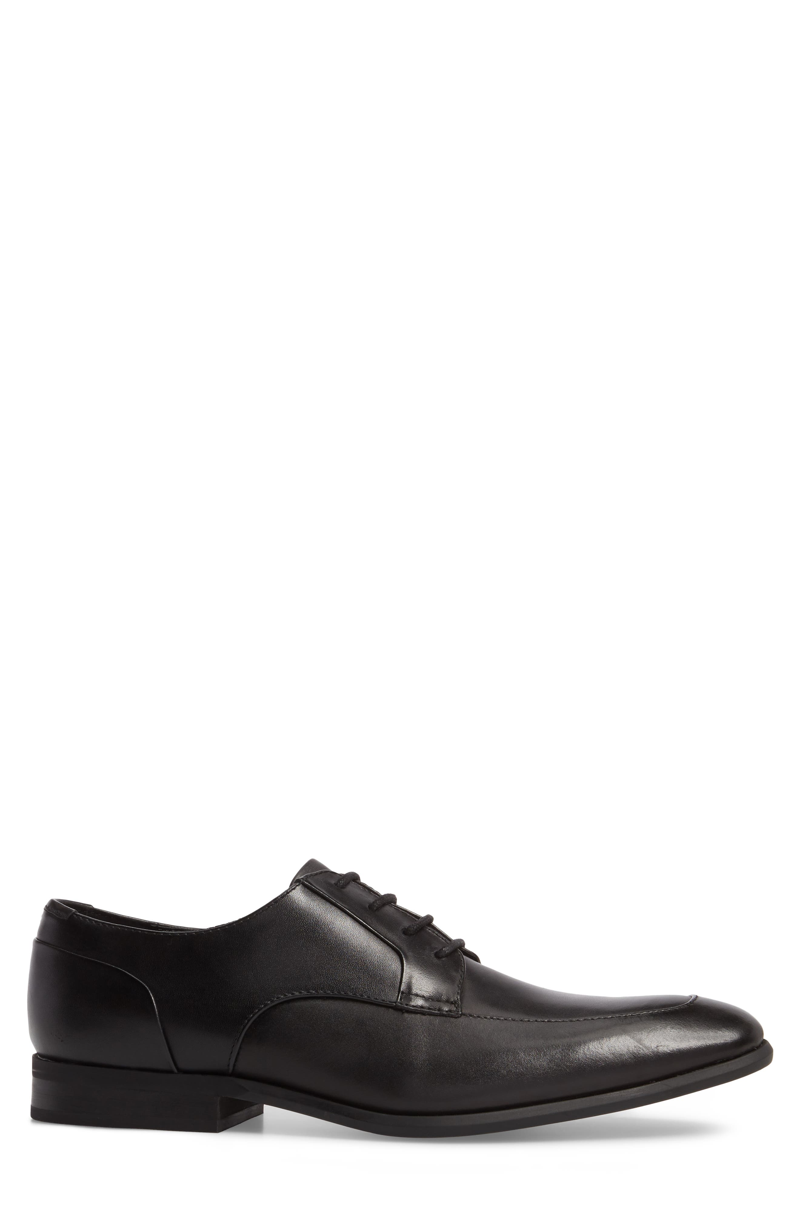Lazarus Apron Toe Derby,                             Alternate thumbnail 3, color,                             Black Leather