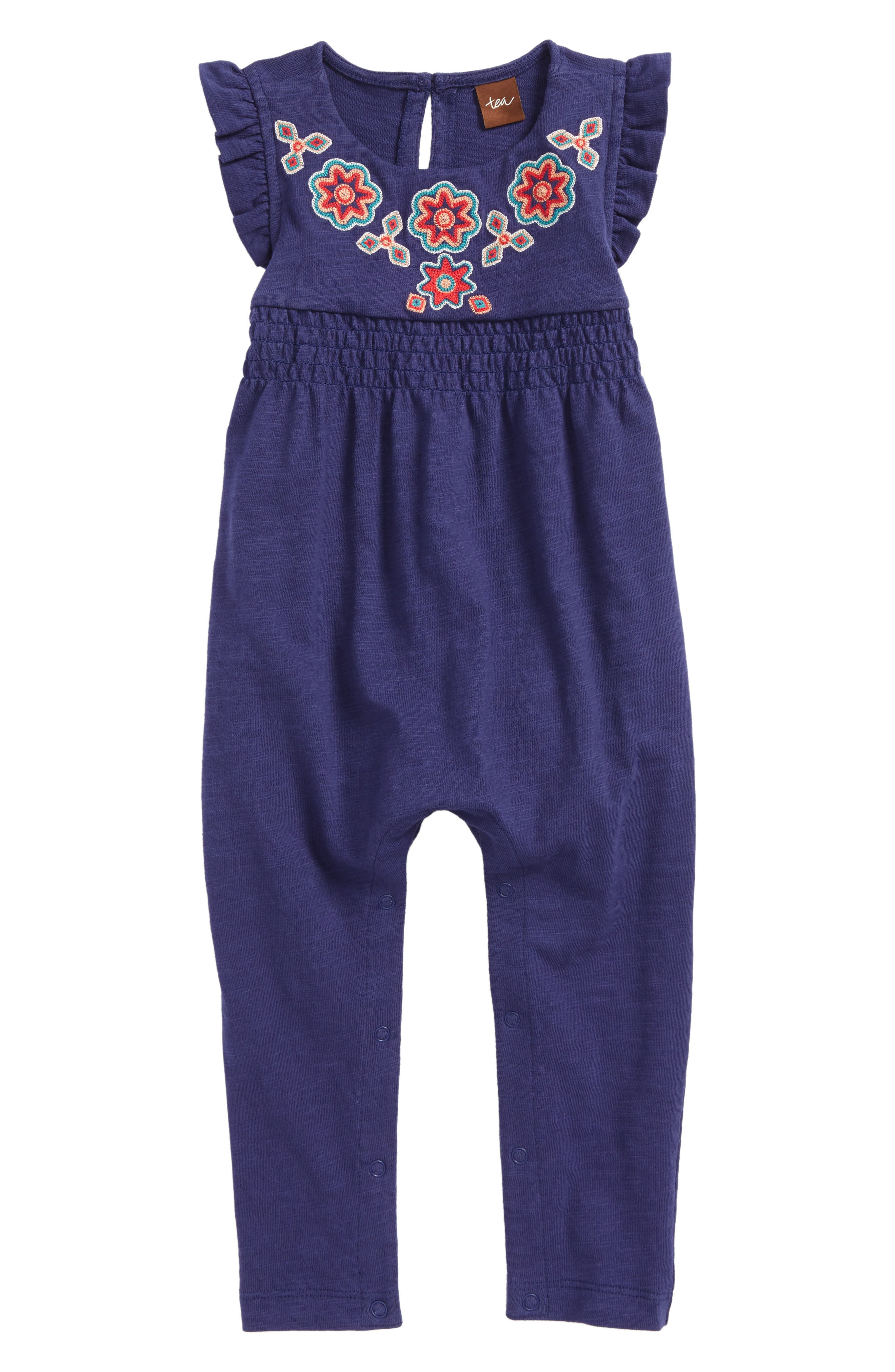 Tea Collection Embroidered Romper (Baby Girls)