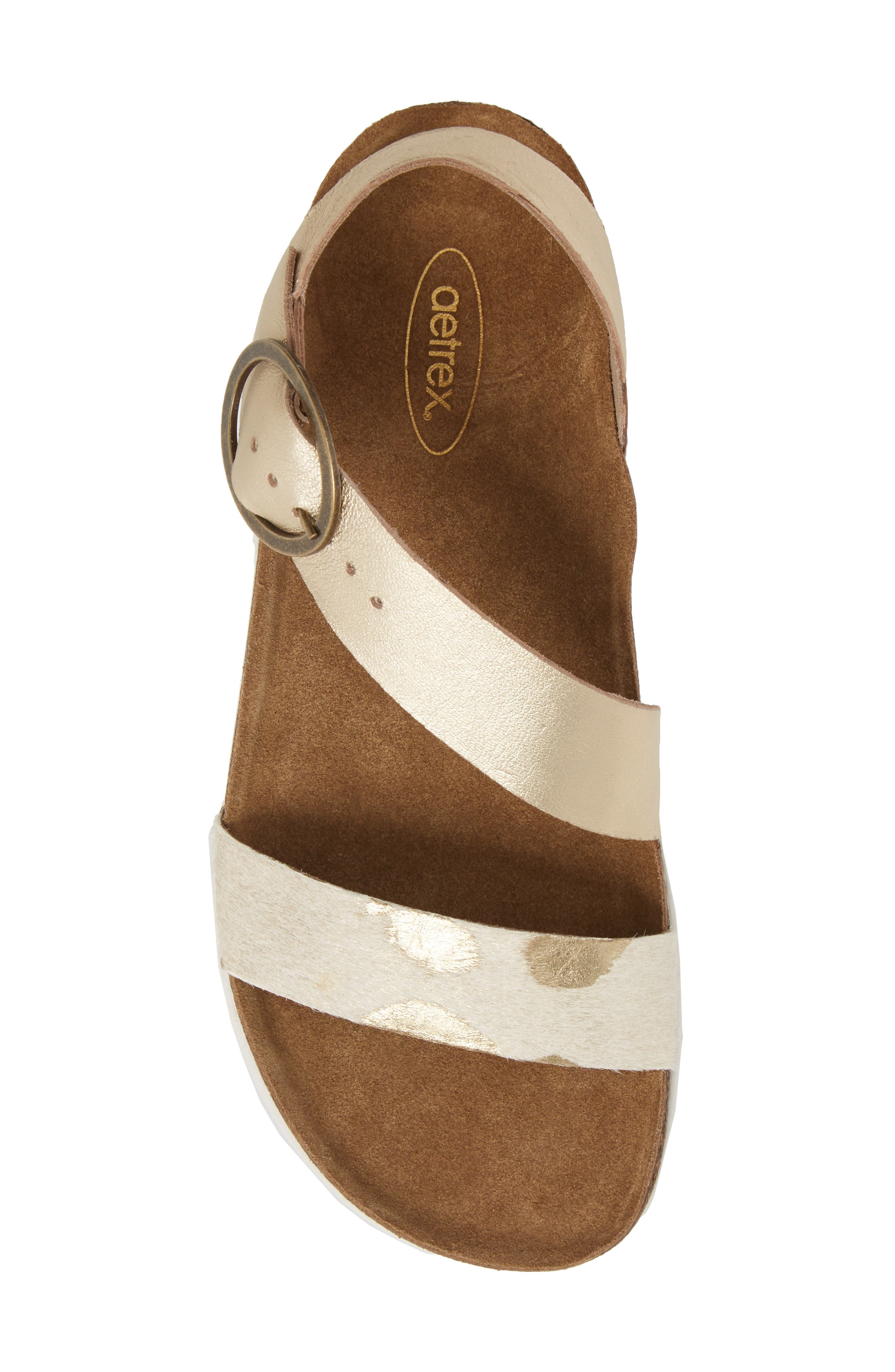 Adrianna Genuine Calf Hair Sandal,                             Alternate thumbnail 5, color,                             Gold Pony Leather