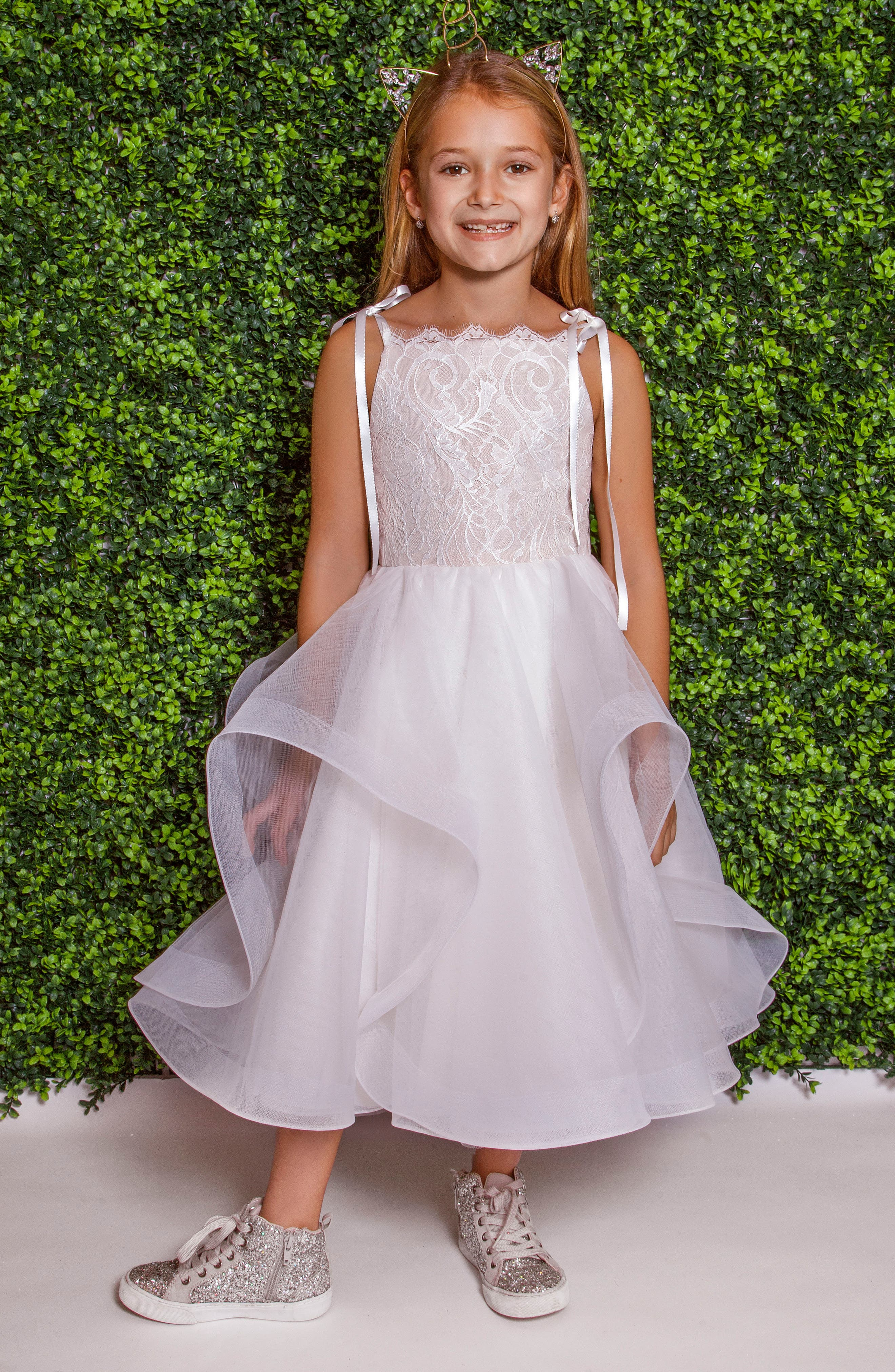 Lilian Lace & Tulle Flower Girl Dress,                             Main thumbnail 1, color,                             Ivory/Cashmere
